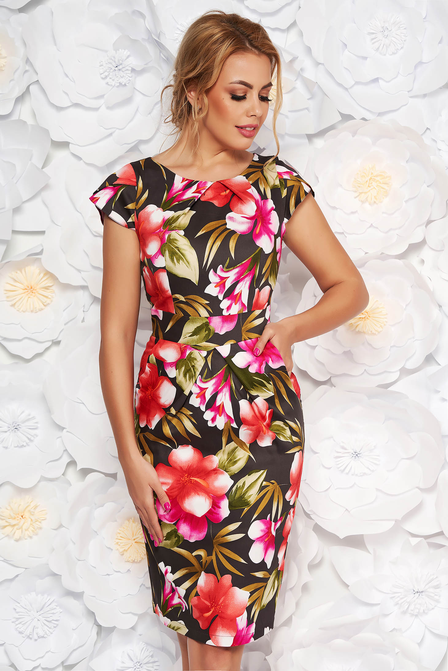 Rochie khaki de zi tip creion din bumbac usor elastic cu imprimeuri florale