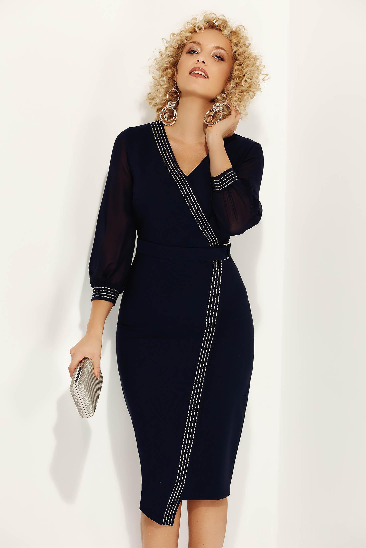 Rochie Fofy albastra-inchis eleganta office cu un croi mulat cu decolteu din stofa subtire usor elastica