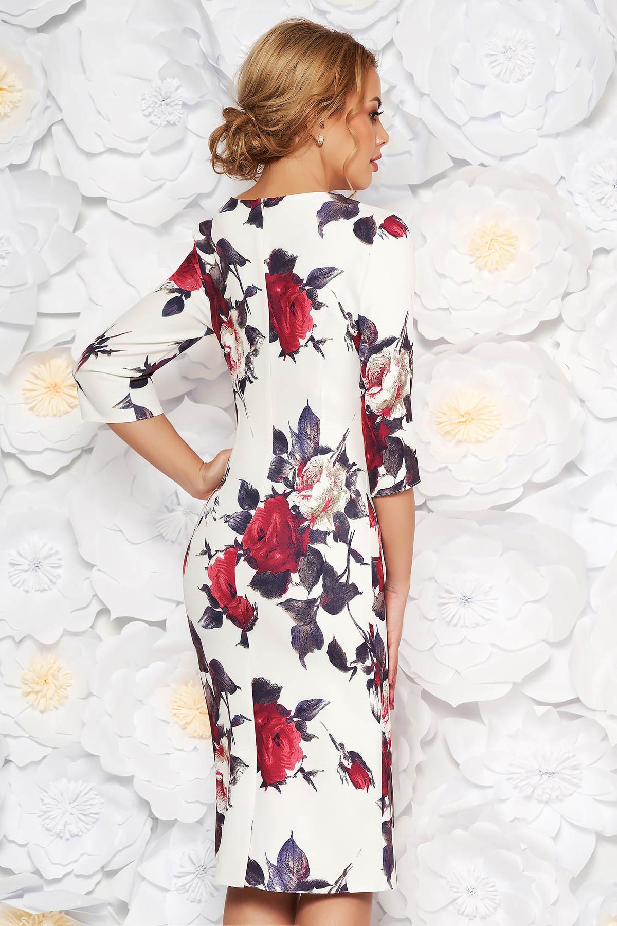 Rochie alba eleganta tip creion cu decolteu in v din material fin la atingere cu imprimeuri florale