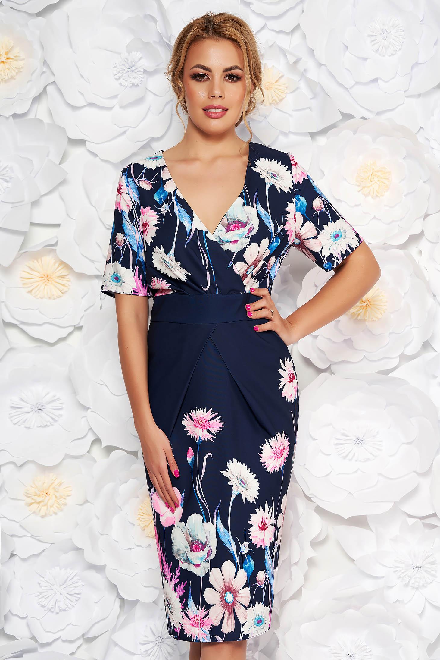 Rochie albastru-inchis eleganta tip creion cu decolteu in v din material usor elastic cu imprimeuri florale