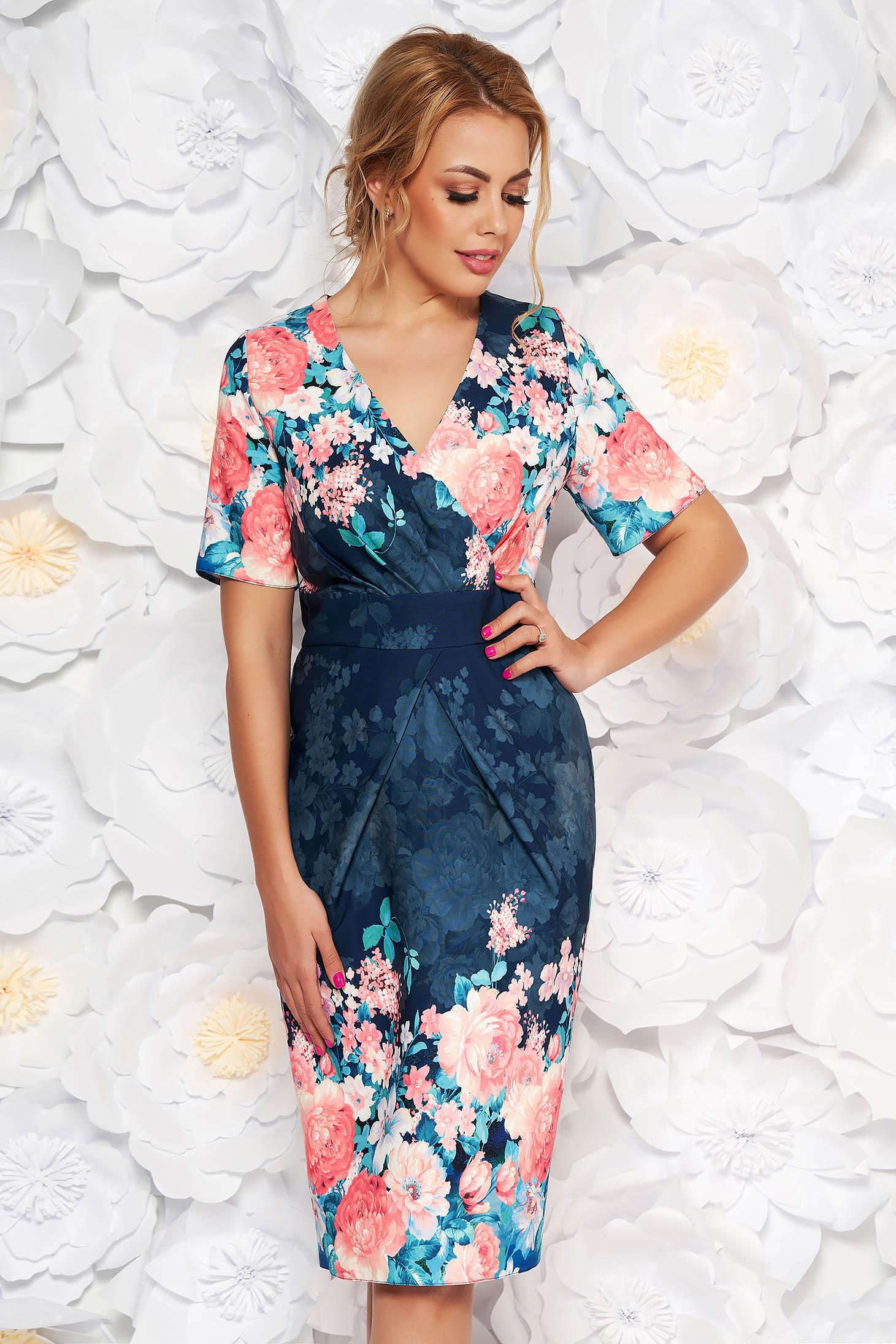 Rochie albastra-inchis eleganta tip creion cu decolteu in v din material usor elastic cu imprimeu floral