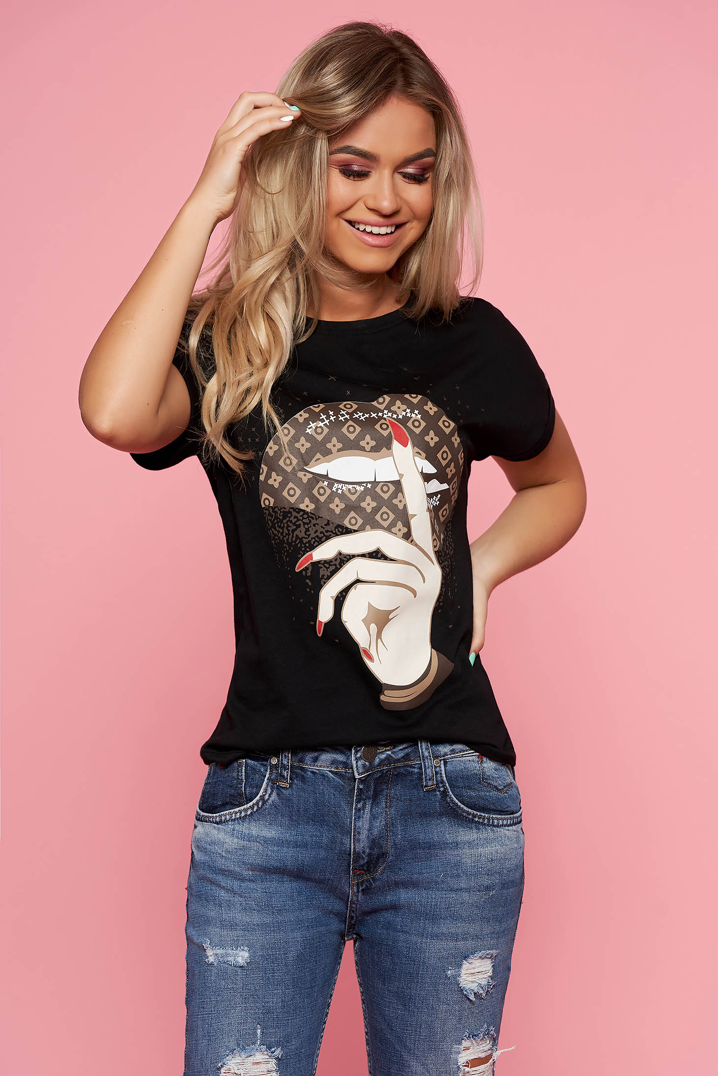 SunShine black casual t-shirt short sleeve slightly elastic cotton