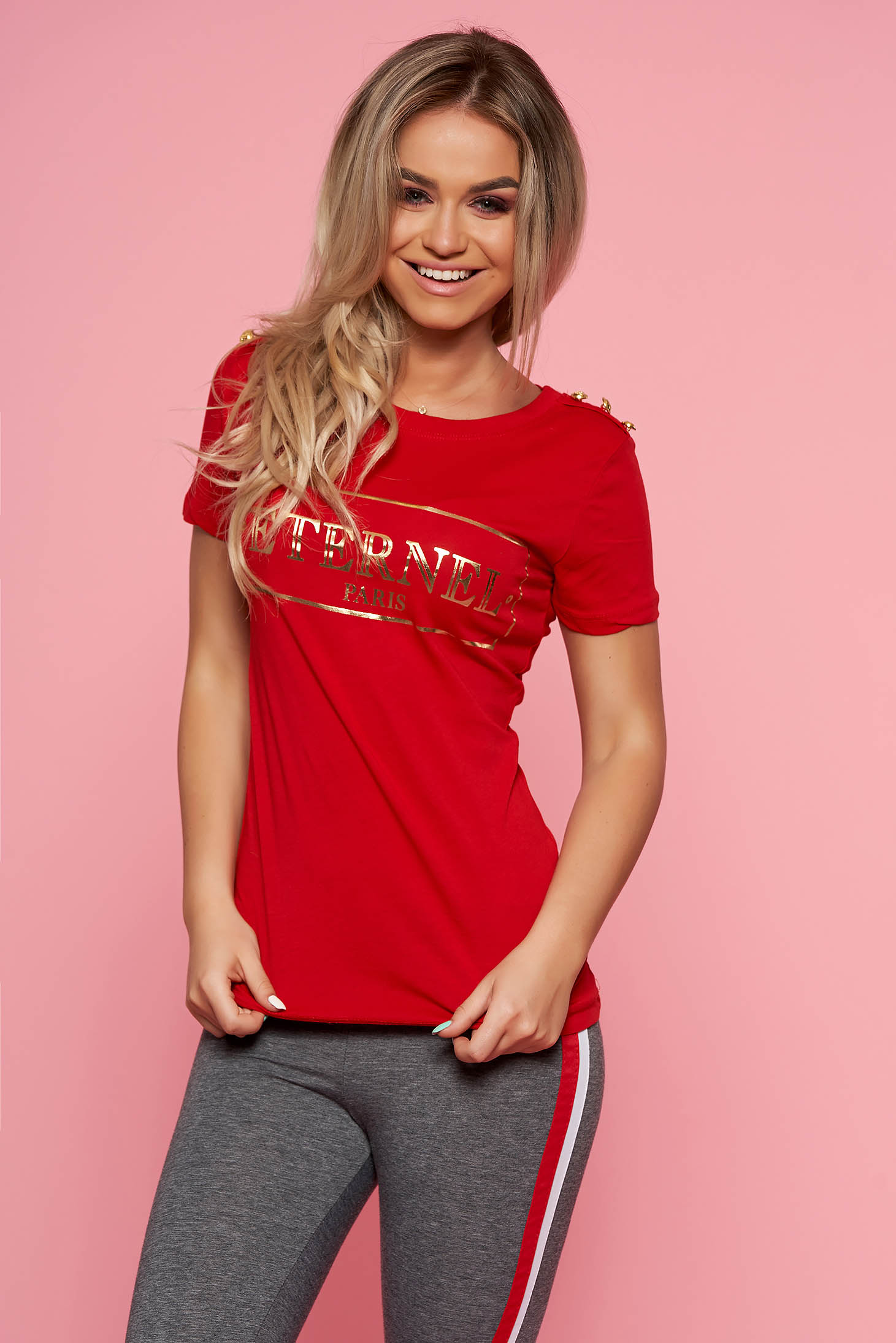SunShine red casual t-shirt short sleeve slightly elastic cotton