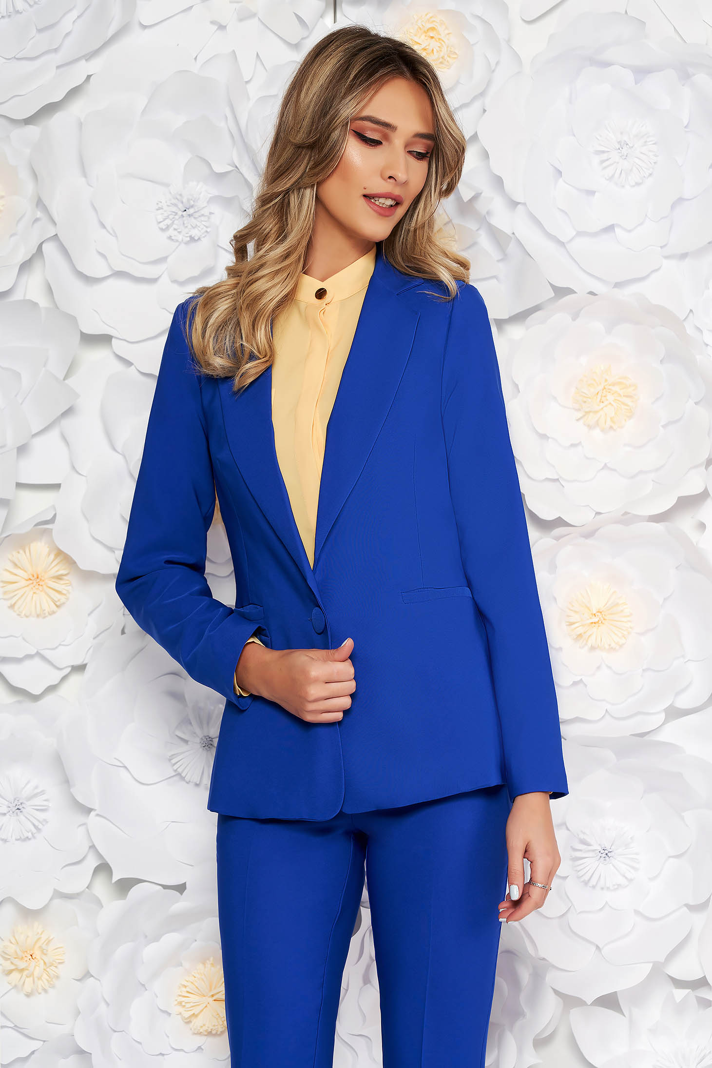 Artista blue jacket with inside lining office from non elastic fabric arched cut