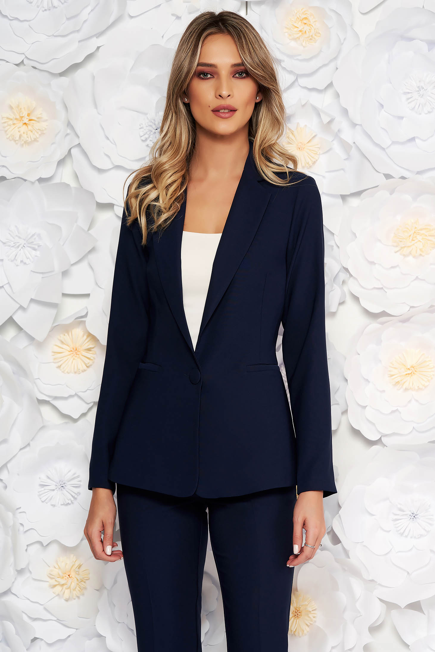 Artista darkblue jacket with inside lining office from non elastic fabric arched cut