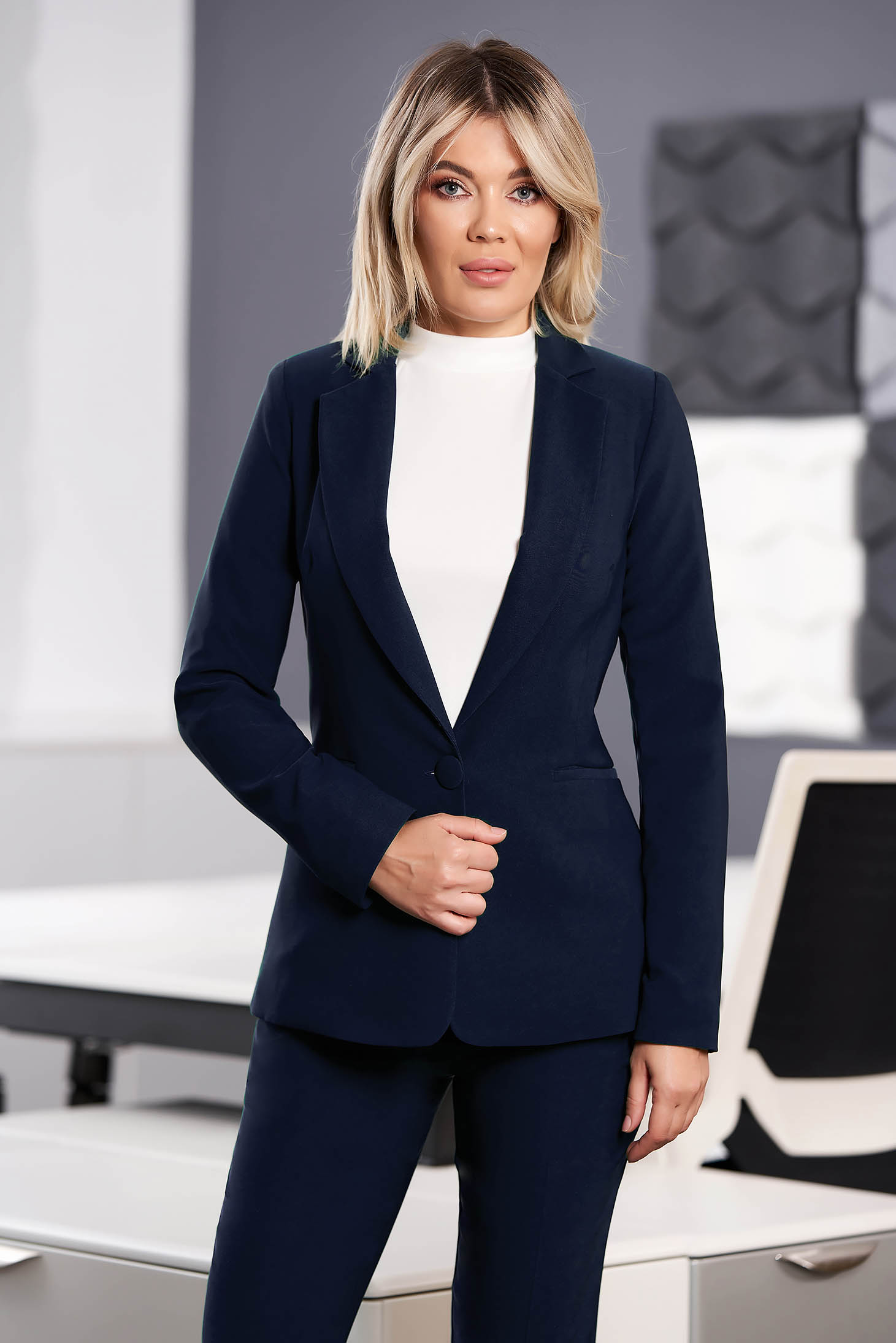 StarShinerS darkblue jacket with inside lining office from non elastic fabric arched cut