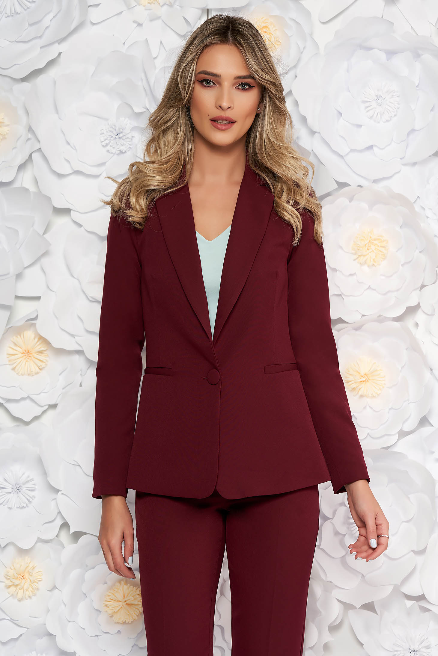 Artista burgundy jacket with inside lining office from non elastic fabric arched cut