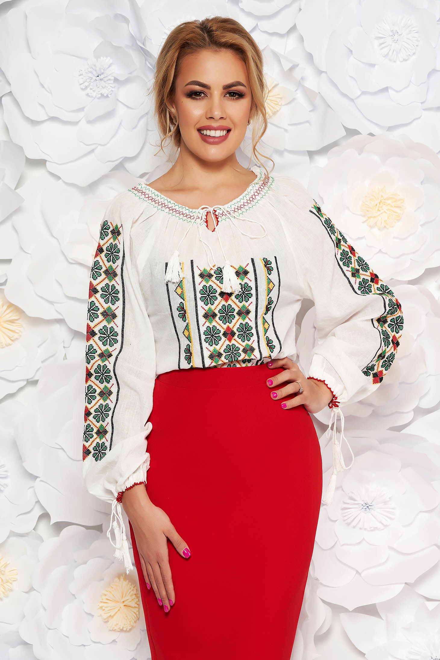 Green flared embroidered women`s shirt nonelastic cotton with laced details