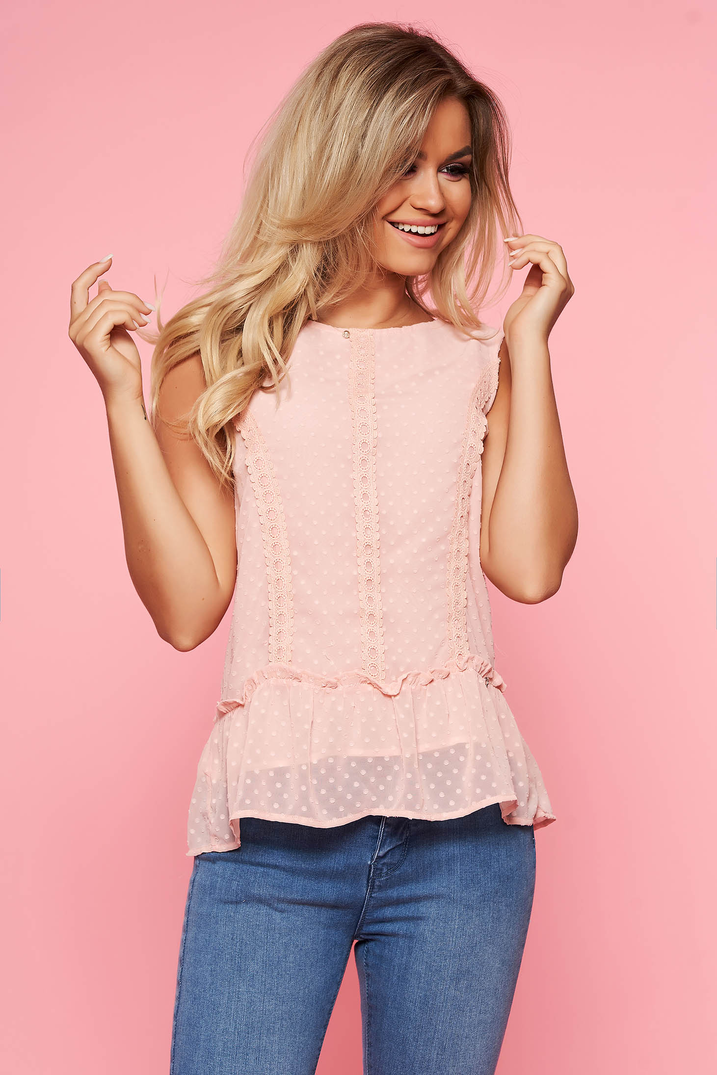 Top Secret rosa elegant flared women`s blouse slightly transparent fabric with frilled waist