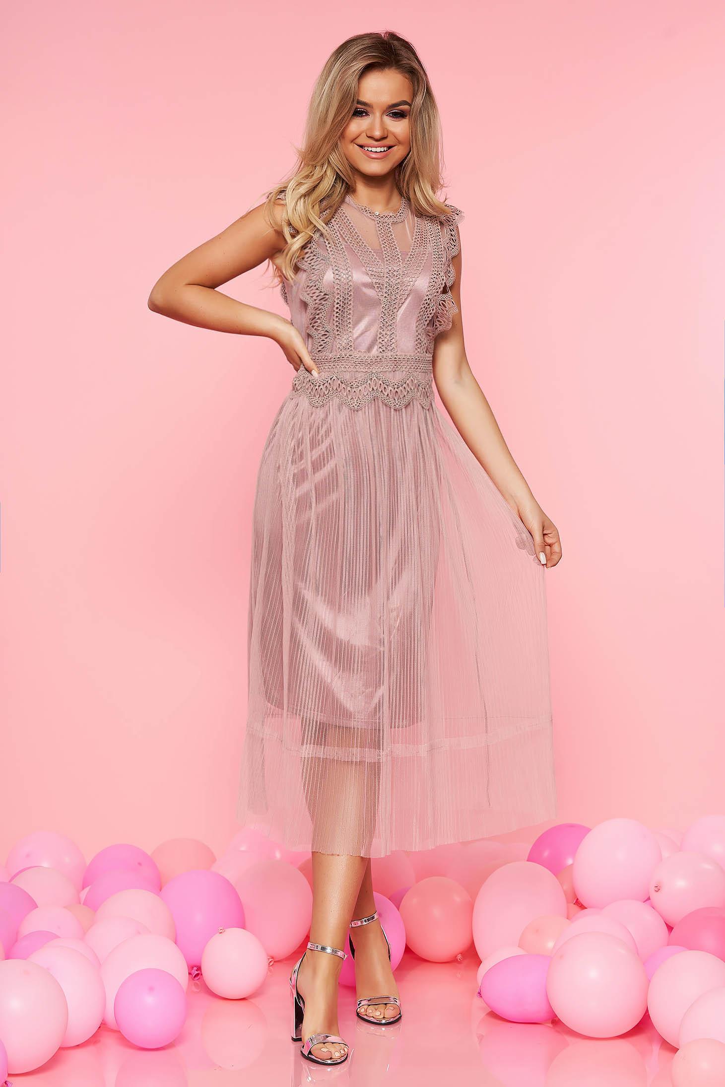 Rochie Top Secret rosa de ocazie in clos fara maneci din material transparent cu aplicatii de dantela