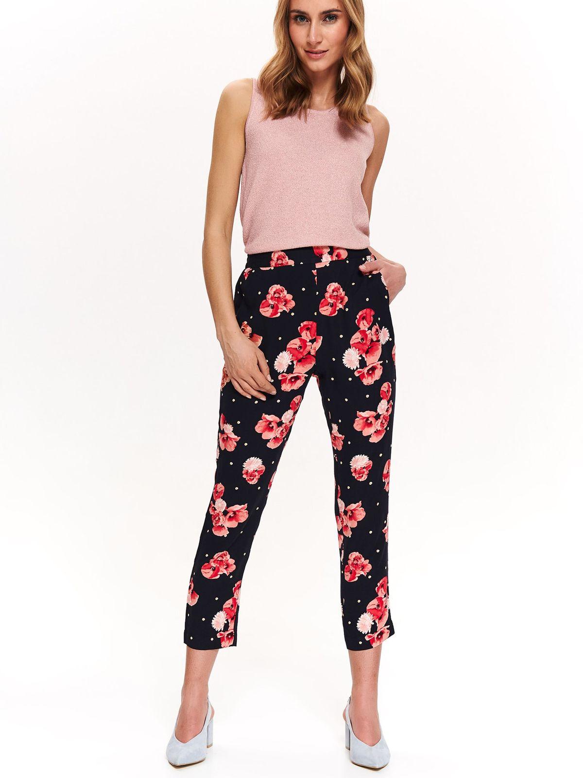 Pantaloni Top Secret albastri-inchis cu talie medie din material subtire cu imprimeu floral