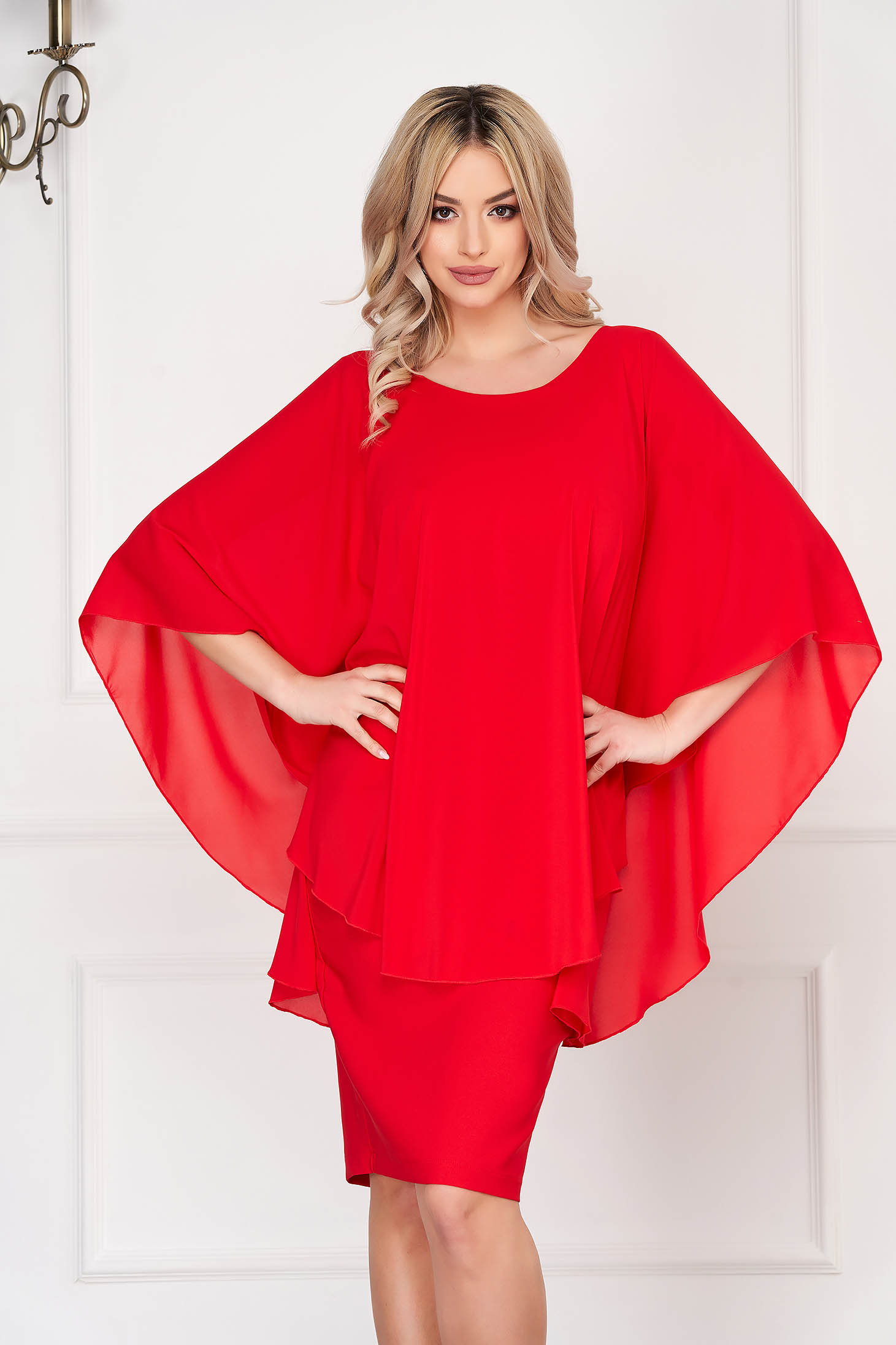 Dress StarShinerS from veil voile overlay red