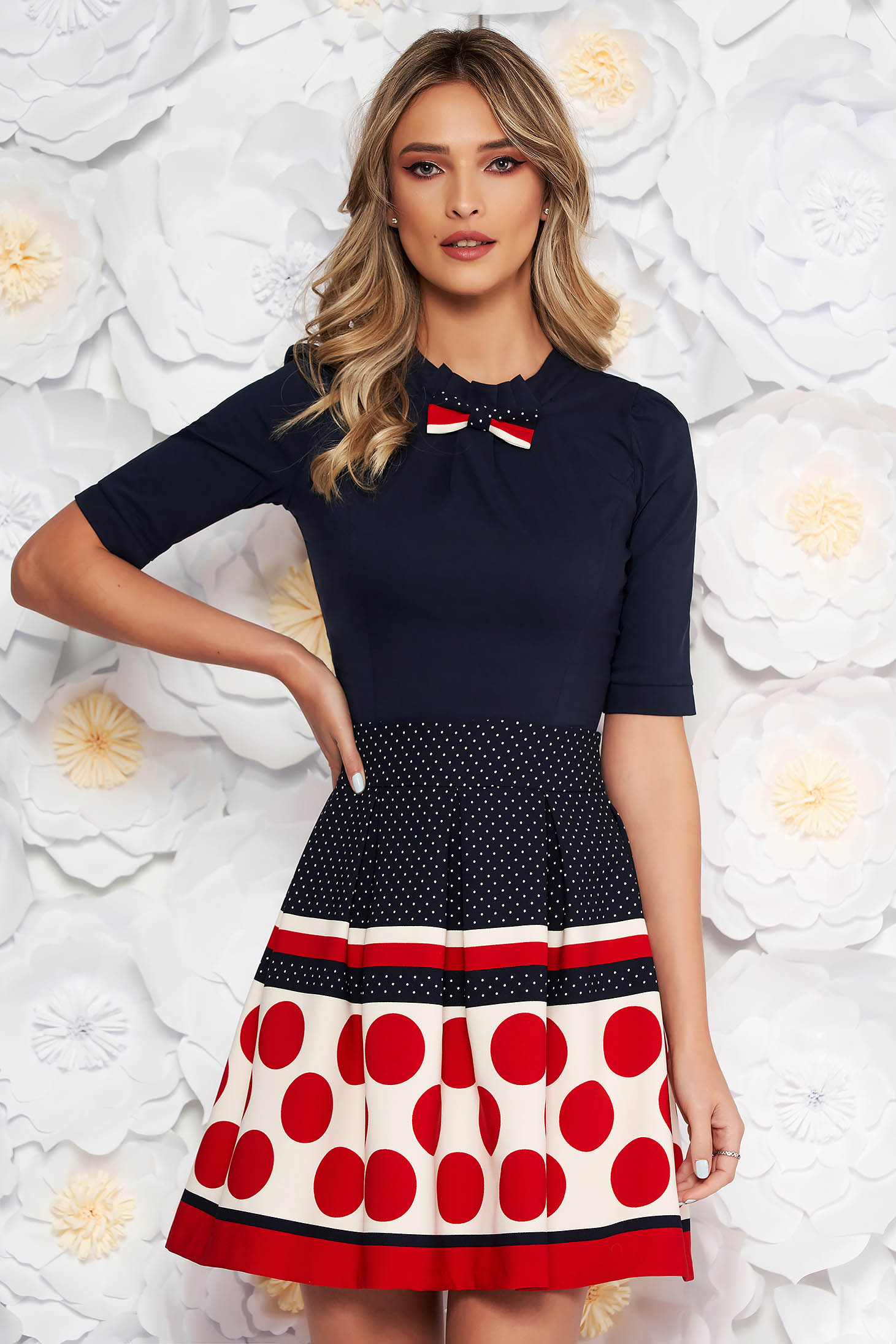 Fofy red office women`s shirt with tented cut slightly elastic cotton bow accessory