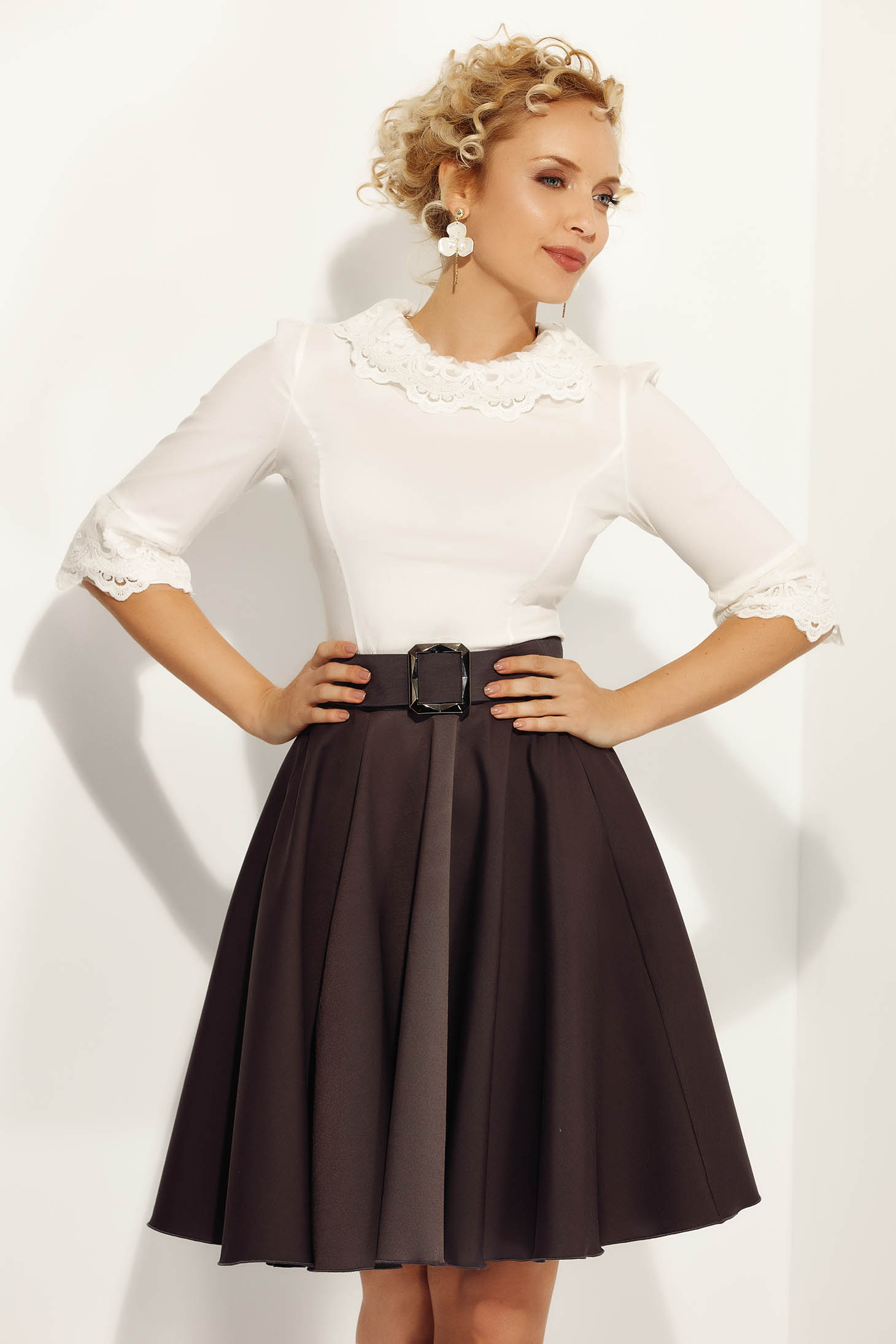 Fofy white women`s shirt elegant with tented cut slightly elastic cotton with lace details
