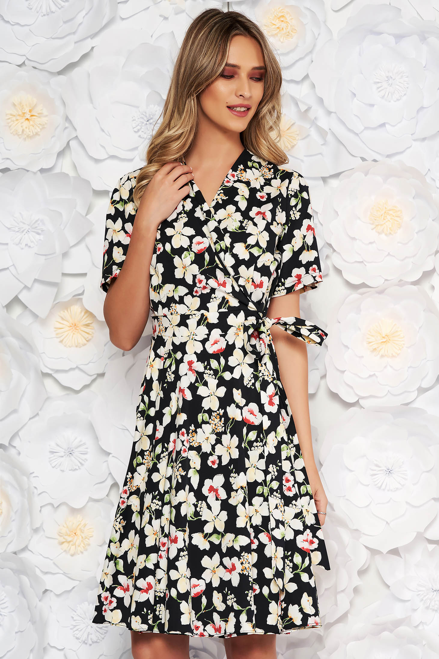 Black daily cloche dress airy fabric with floral prints accessorized with tied waistband