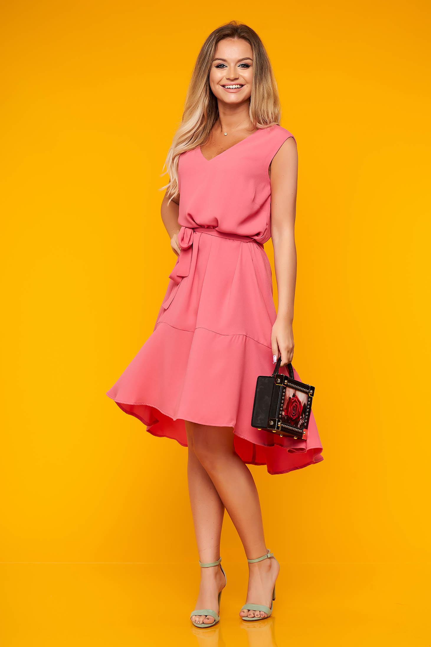 Top Secret pink daily asymmetrical cloche dress with v-neckline thin fabric