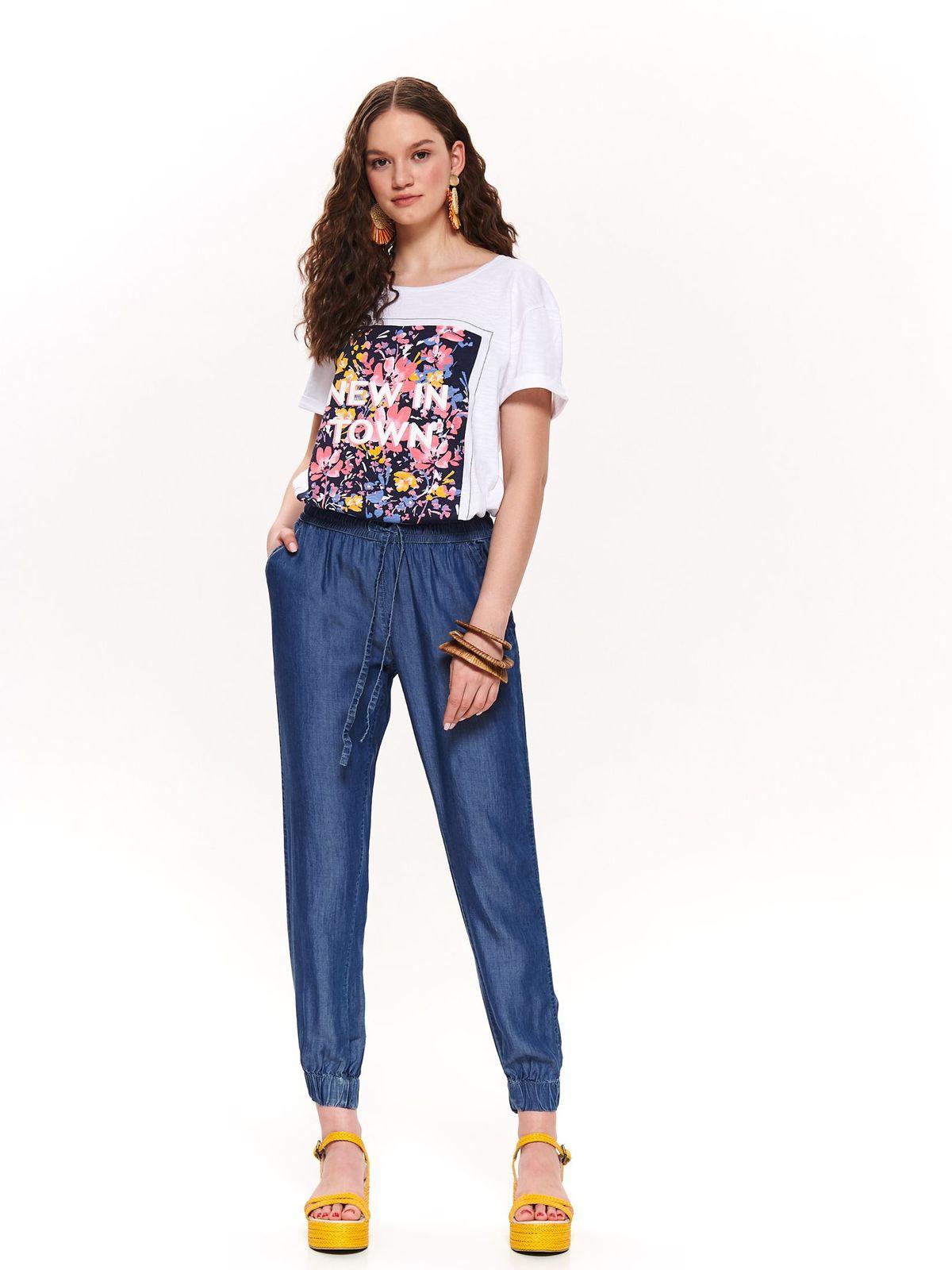 Pantaloni albastri Top Secret casual din denim cu talie medie accesorizati cu snur cu buzunare