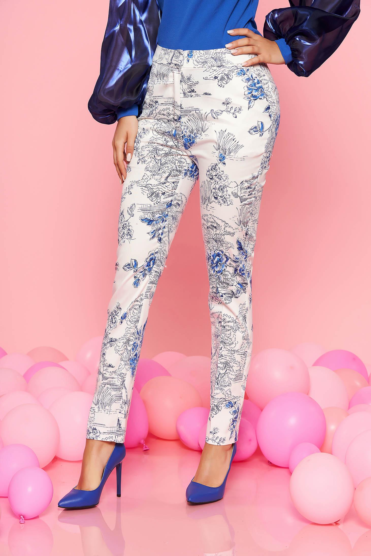 Pantaloni Top Secret albi eleganti din bumbac cu talie medie si imprimeu floral
