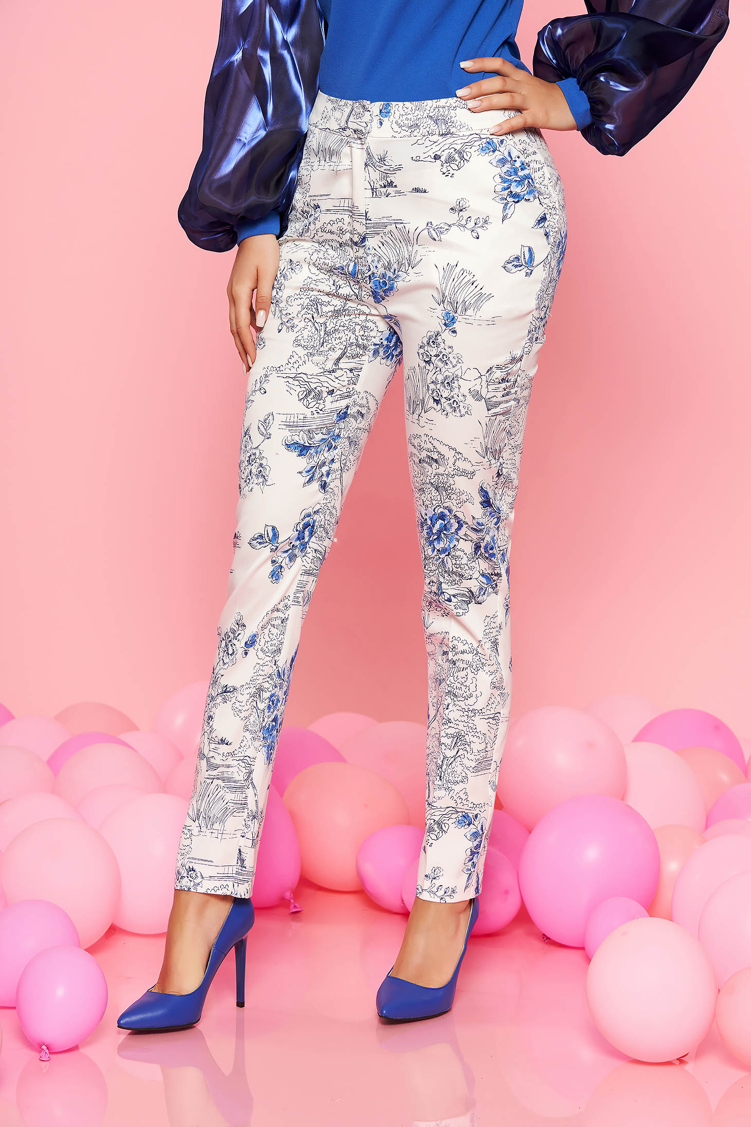 Top Secret white elegant trousers with medium waist nonelastic cotton with floral print