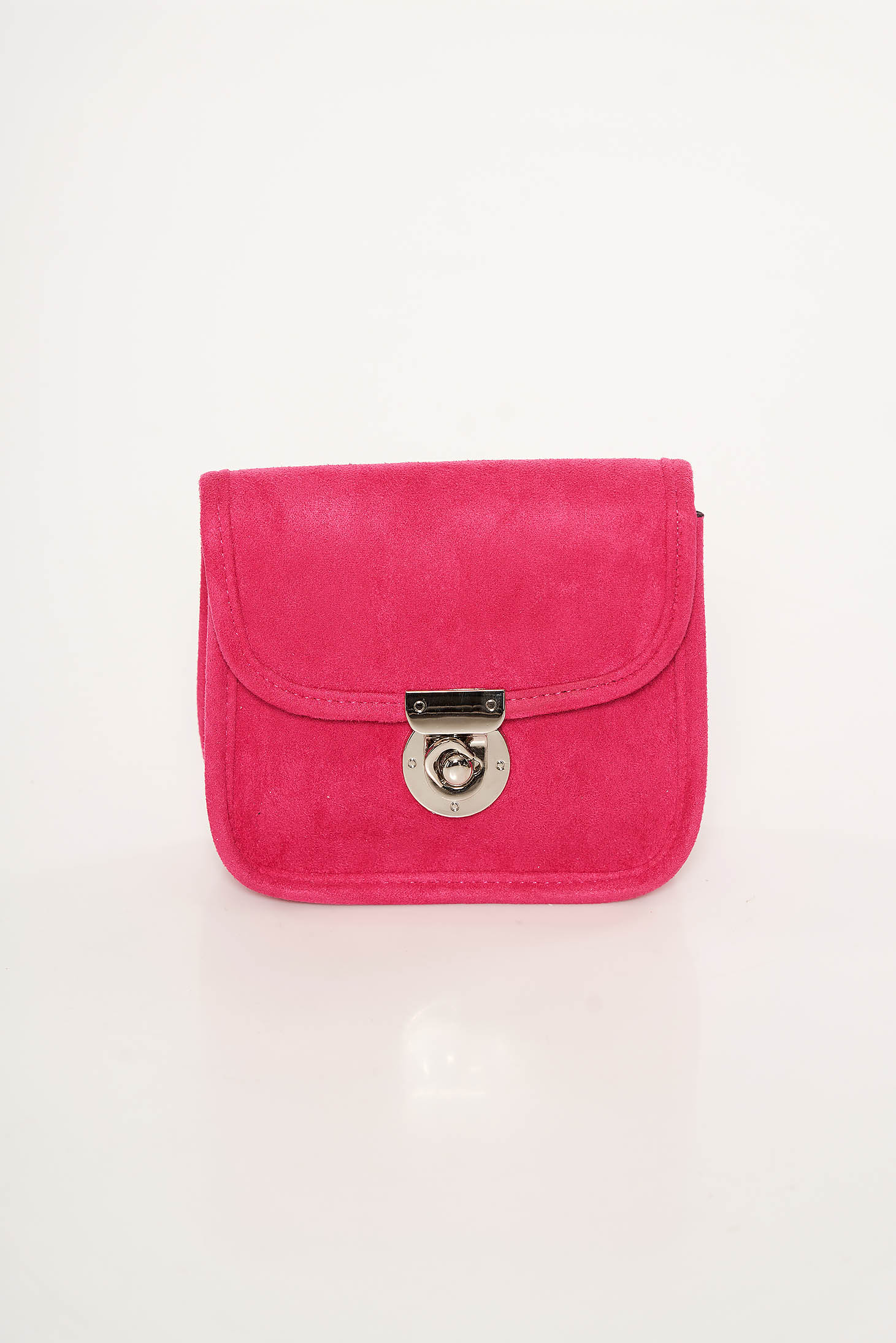 Geanta dama roz Top Secret din material catifelat cu maner lung tip lantisor