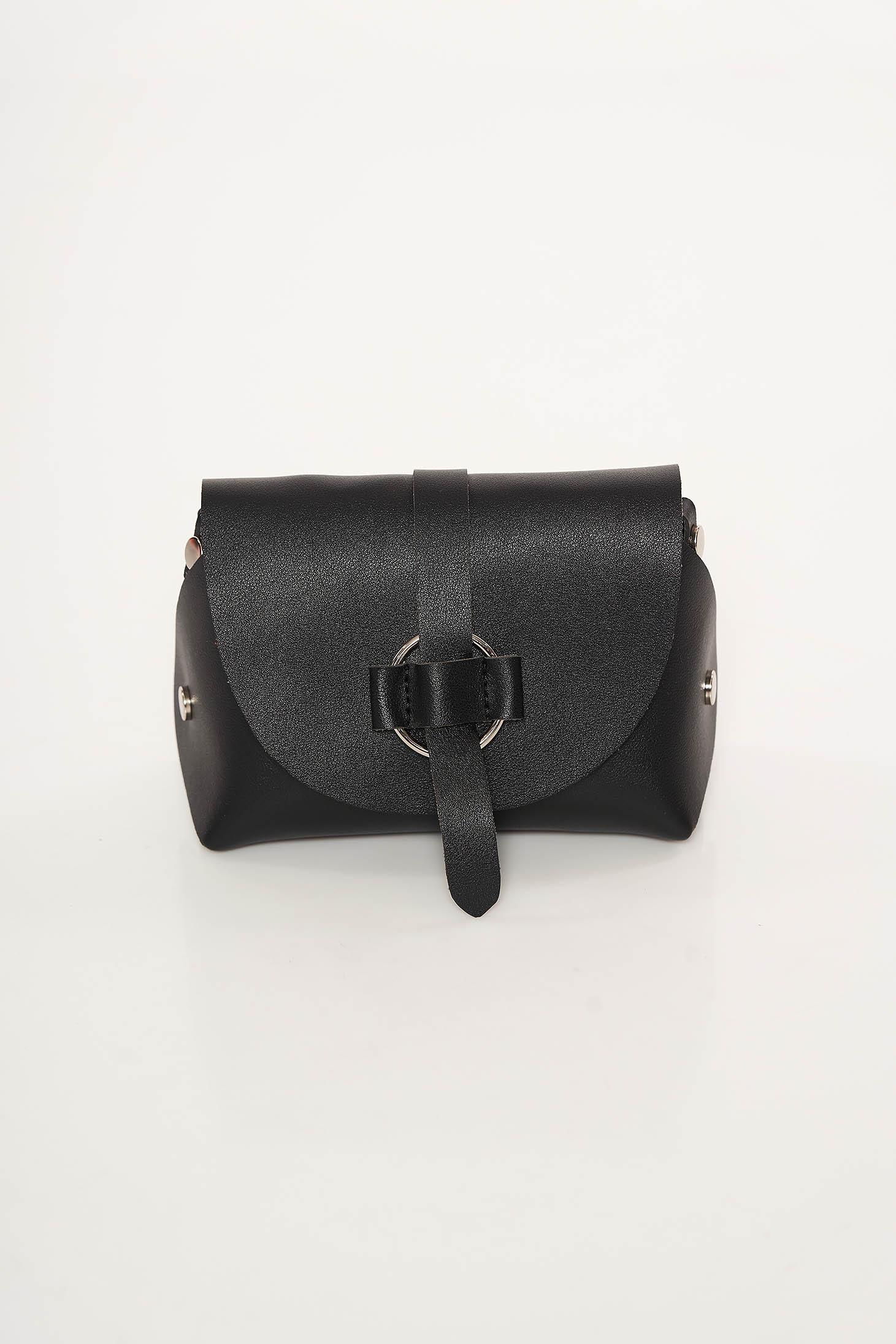 Geanta dama neagra casual din piele ecologica cu maner lung tip lantisor