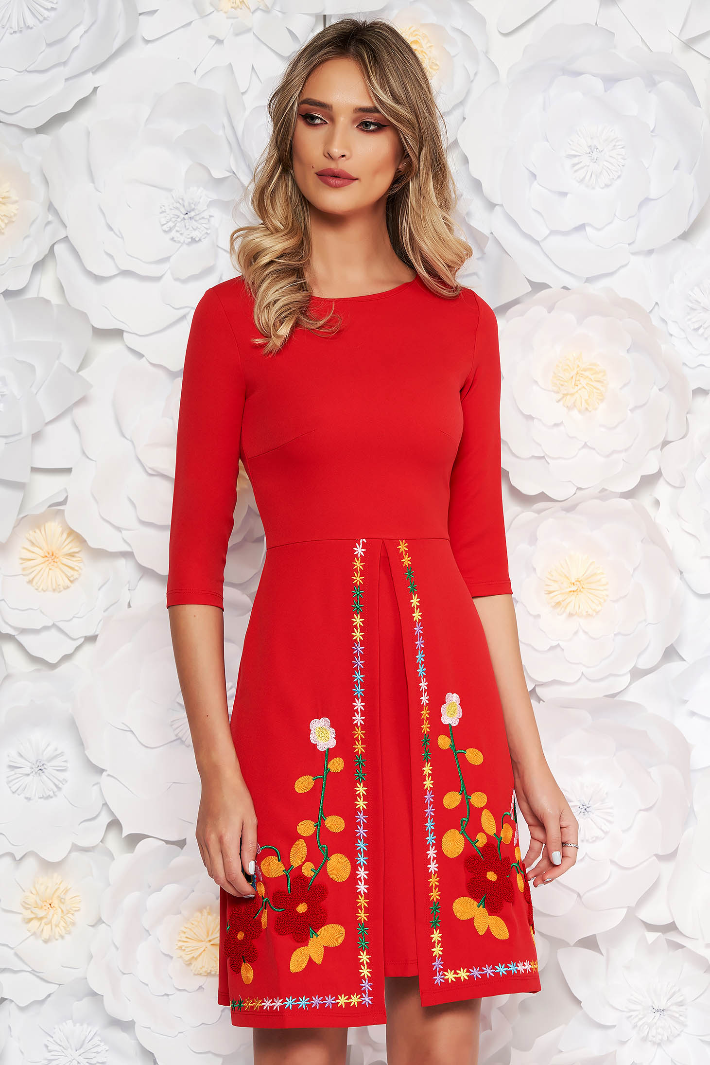 SunShine red daily a-line dress slightly elastic fabric with embroidery details