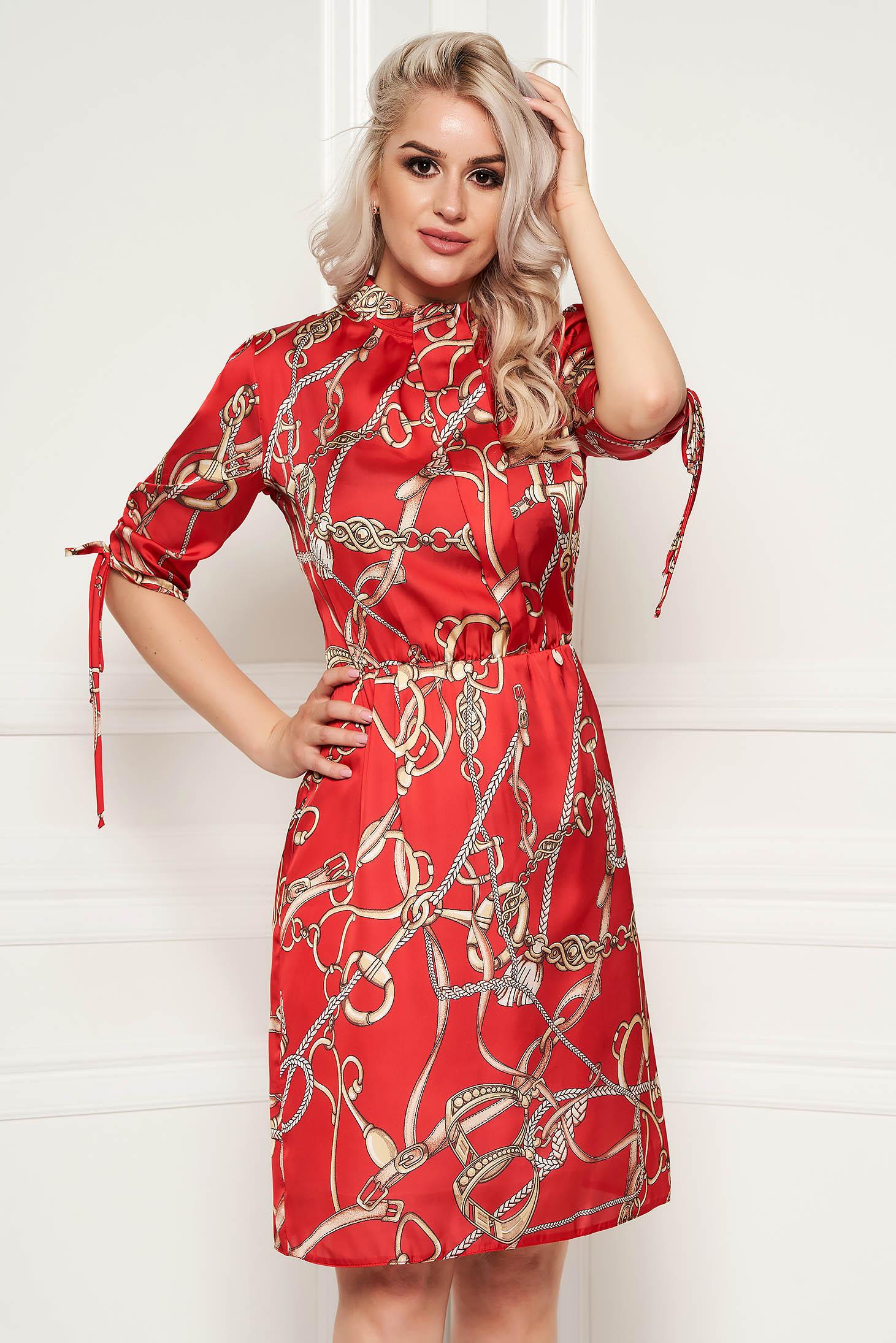 Rochie PrettyGirl rosie eleganta de zi in clos cu elastic in talie cu maneci trei-sferturi din material satinat