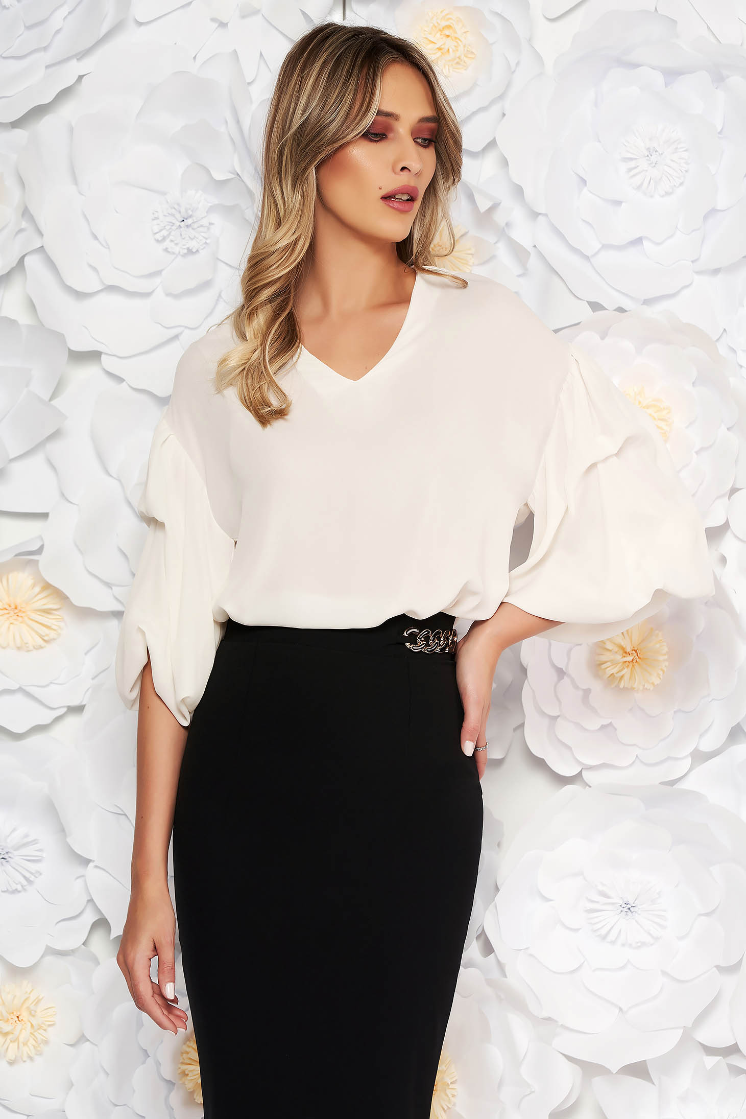 PrettyGirl white asymmetrical flared women`s blouse with puffed sleeves