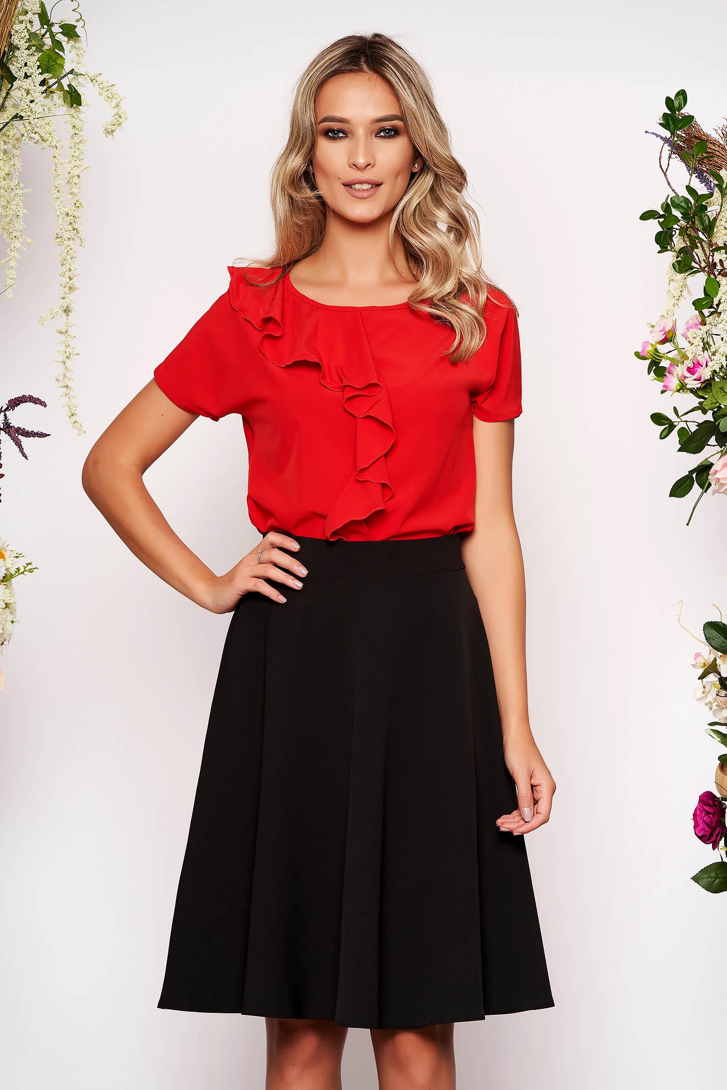 Bluza dama StarShinerS rosie cu maneca scurta cu volanase din material subtire