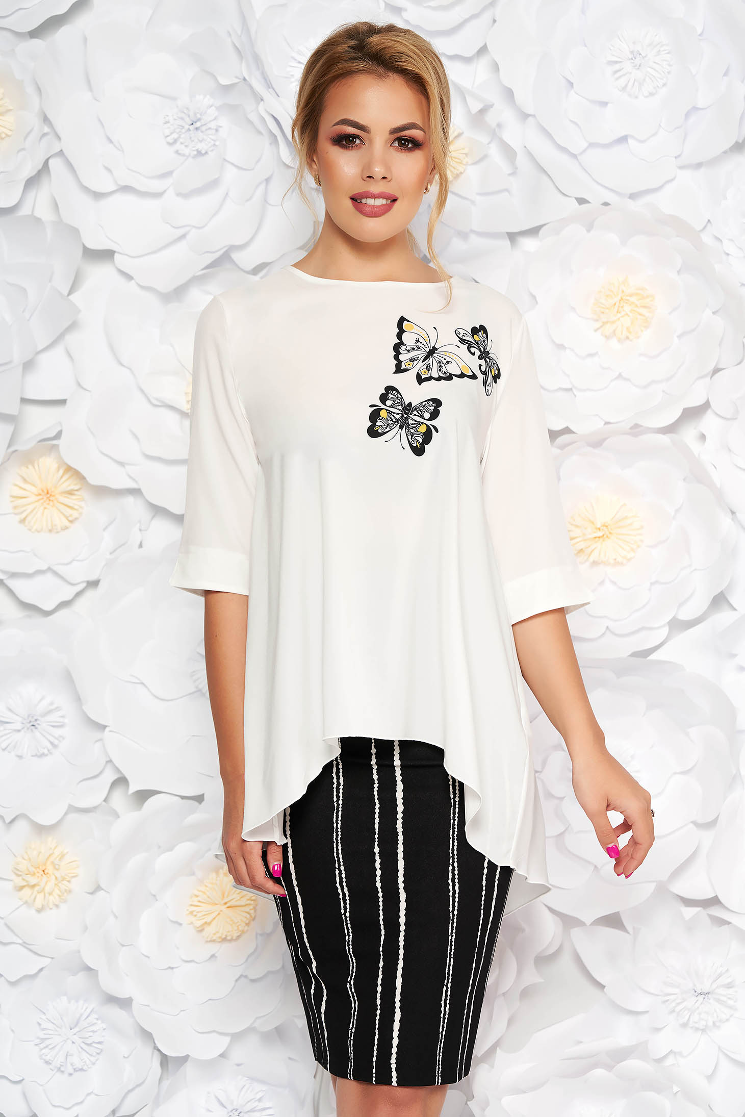 Set StarShinerS alb elegant din 2 piese cu fusta conica si bluza cu croi larg