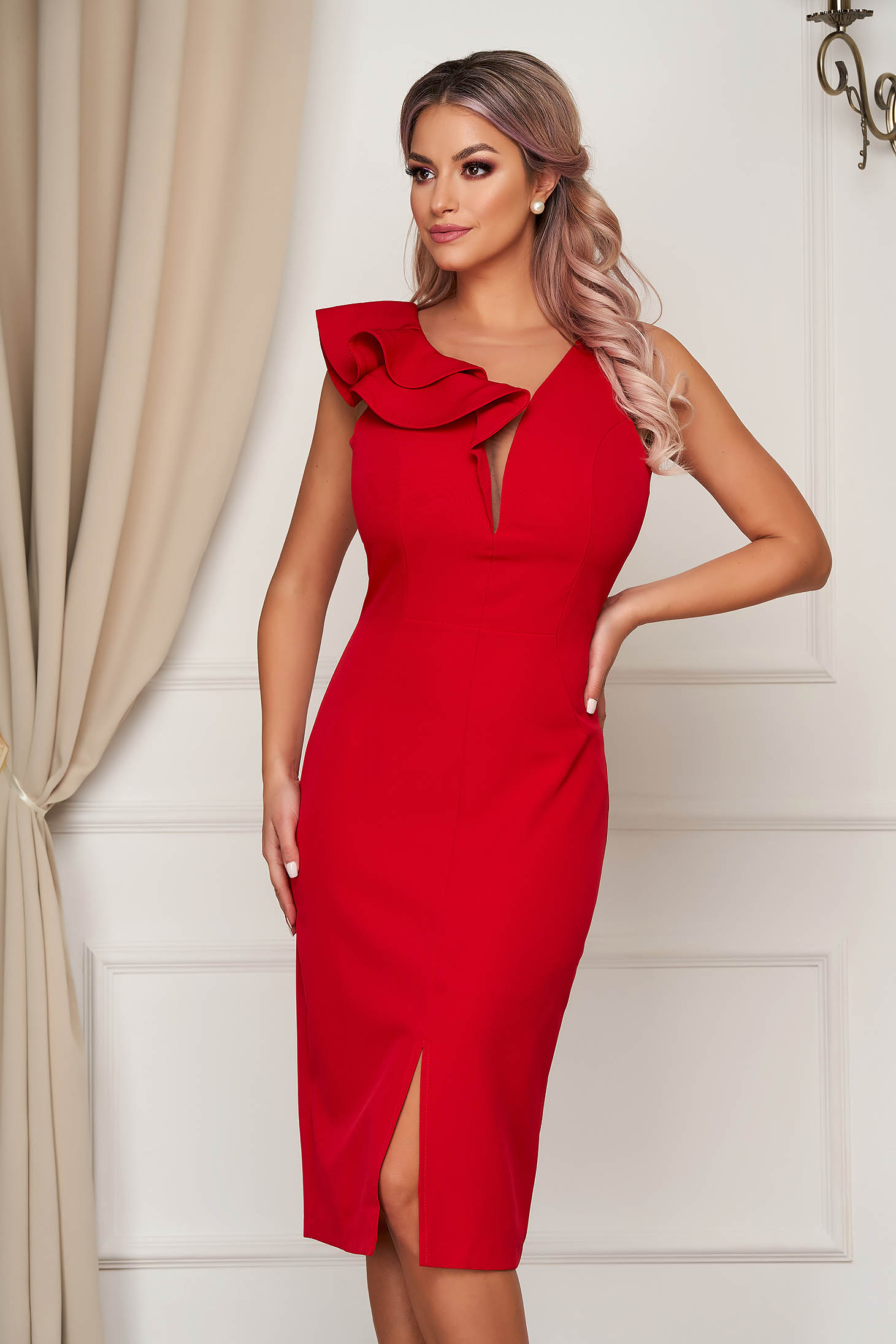 StarShinerS red occasional dress with v-neckline with tented cut slightly elastic fabric with ruffle details