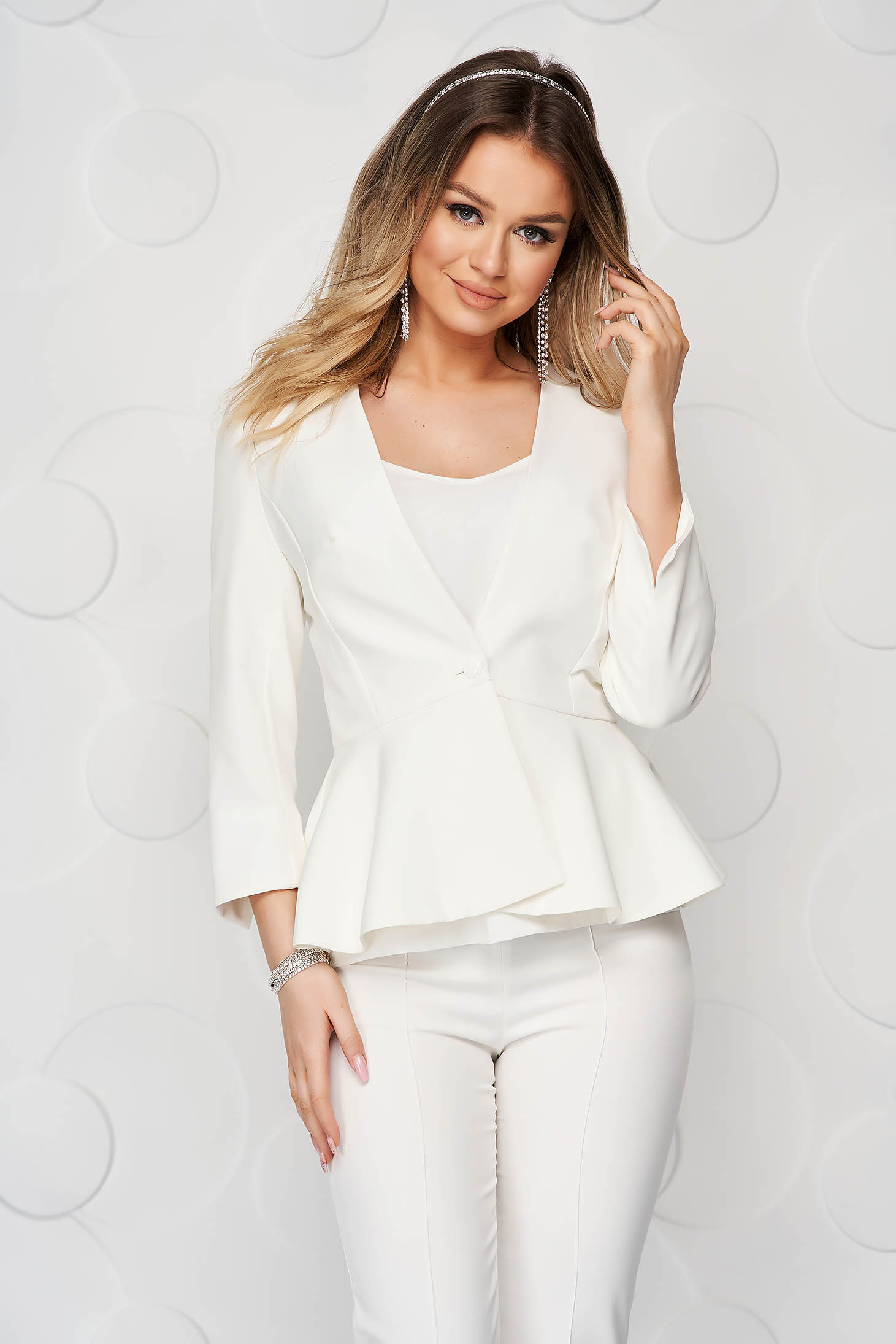 StarShinerS white elegant tented jacket with 3/4 sleeves with frilled waist slightly elastic fabric