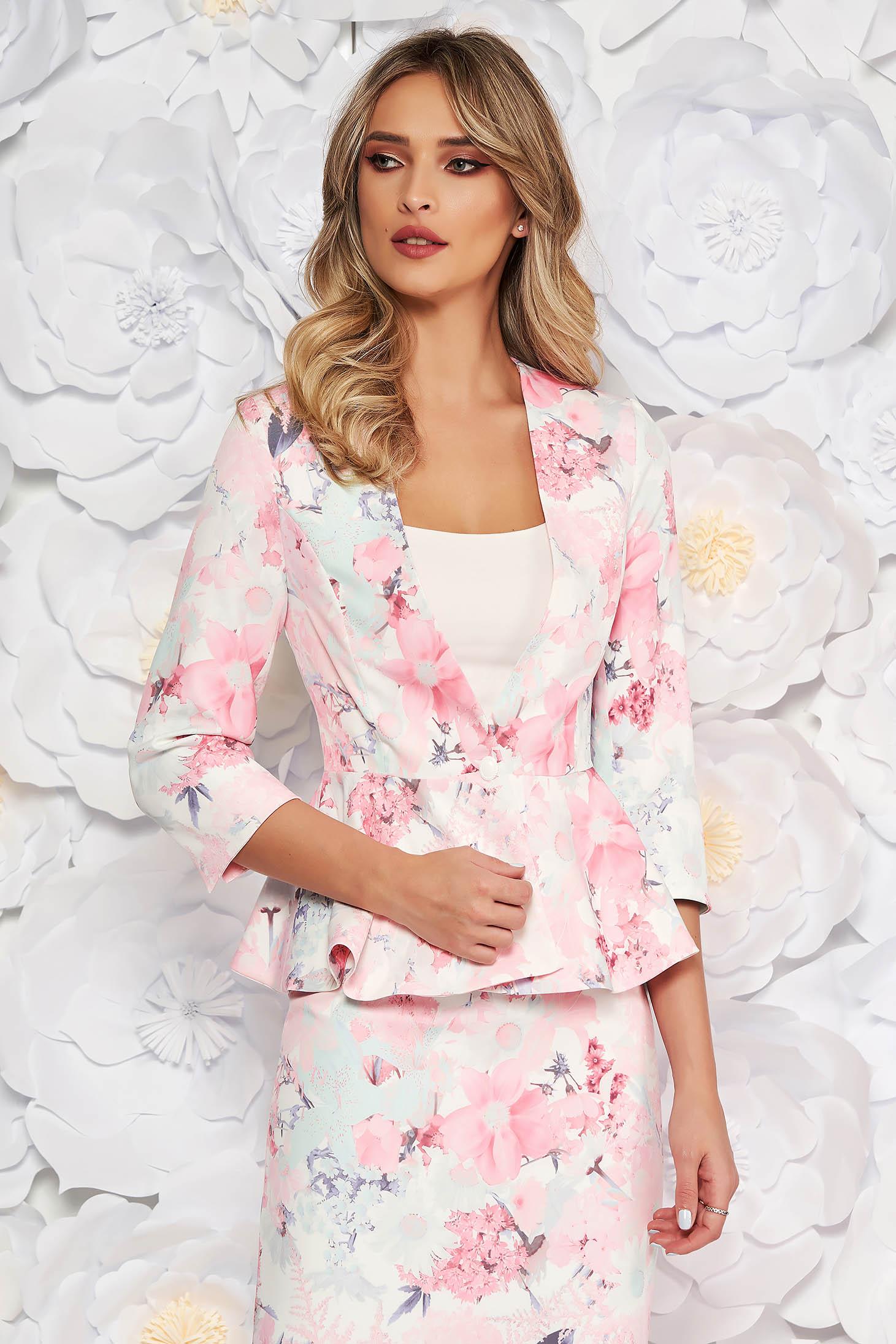 Sacou StarShinerS rosa elegant cambrat cu maneci trei-sferturi cu peplum din stofa subtire usor elastica