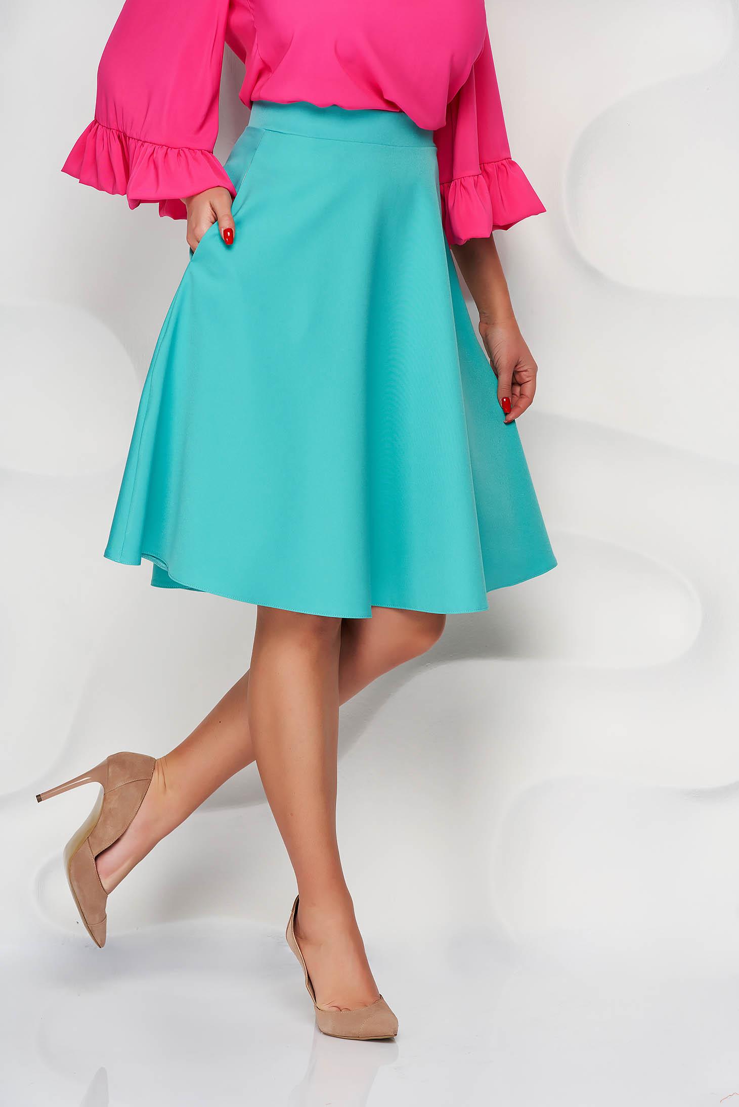 StarShinerS green elegant cloche skirt high waisted slightly elastic fabric office