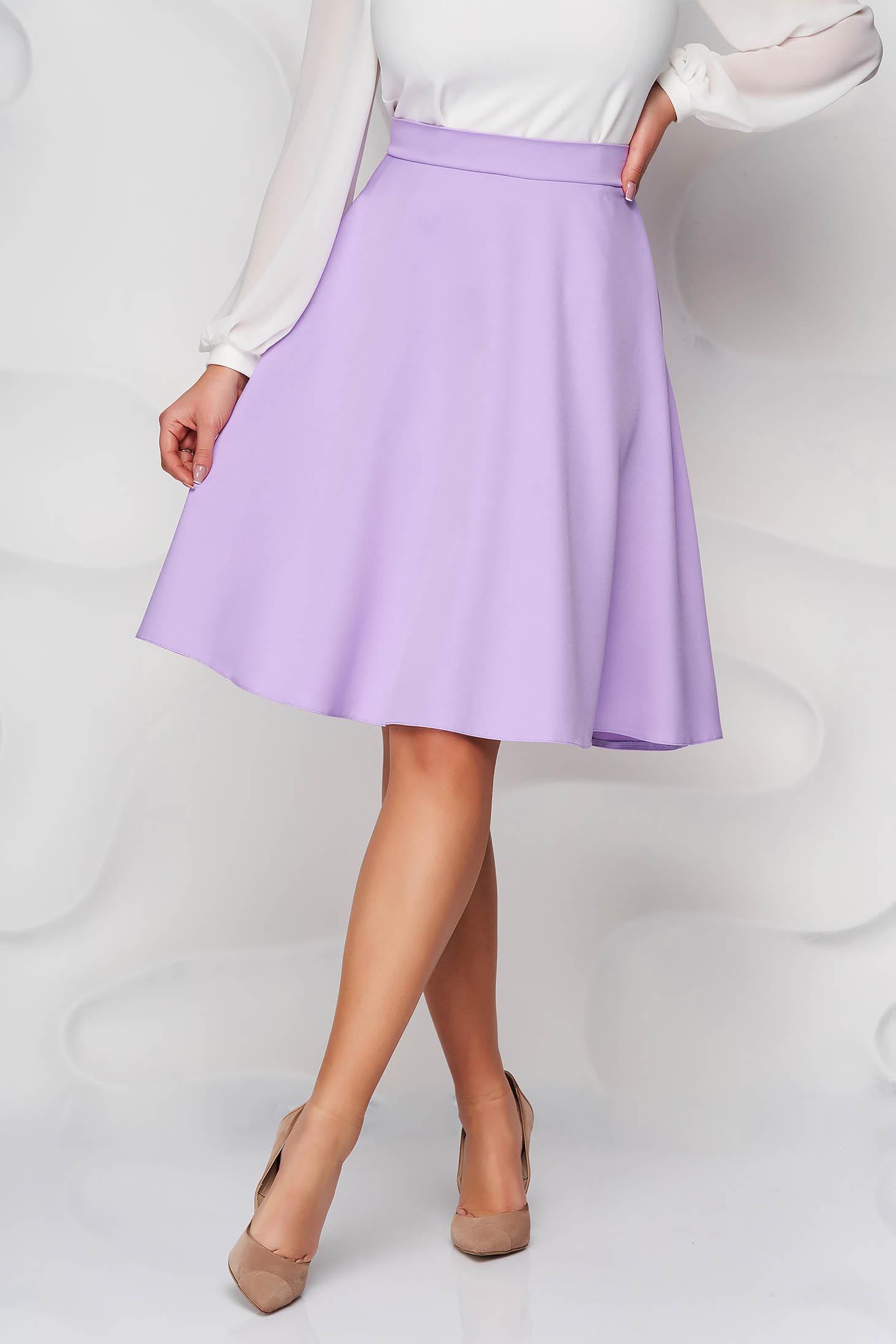 Lila StarShinerS midi elegáns magas derekú harang szoknya zsebekkel és bélés nélkül