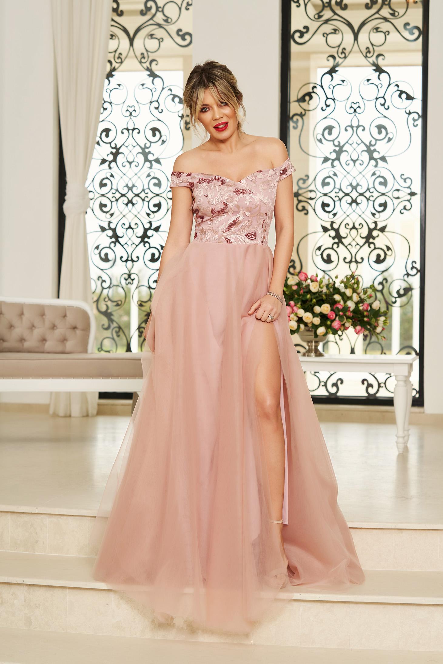 Rózsaszínű StarShinerS alkalmi hosszú harang ruha váll nélküli