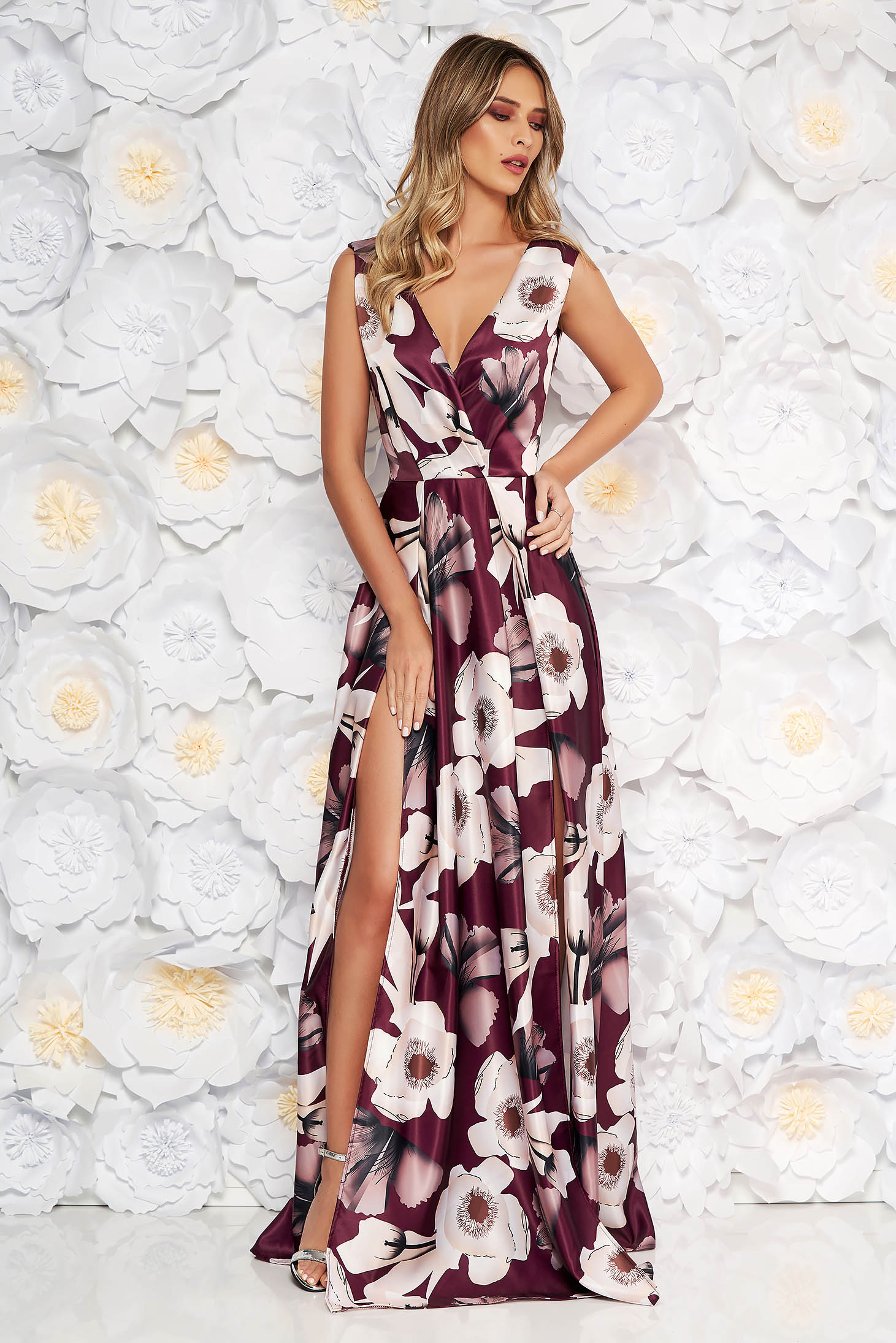 Artista burgundy occasional cloche dress with deep cleavage from satin fabric texture with floral print