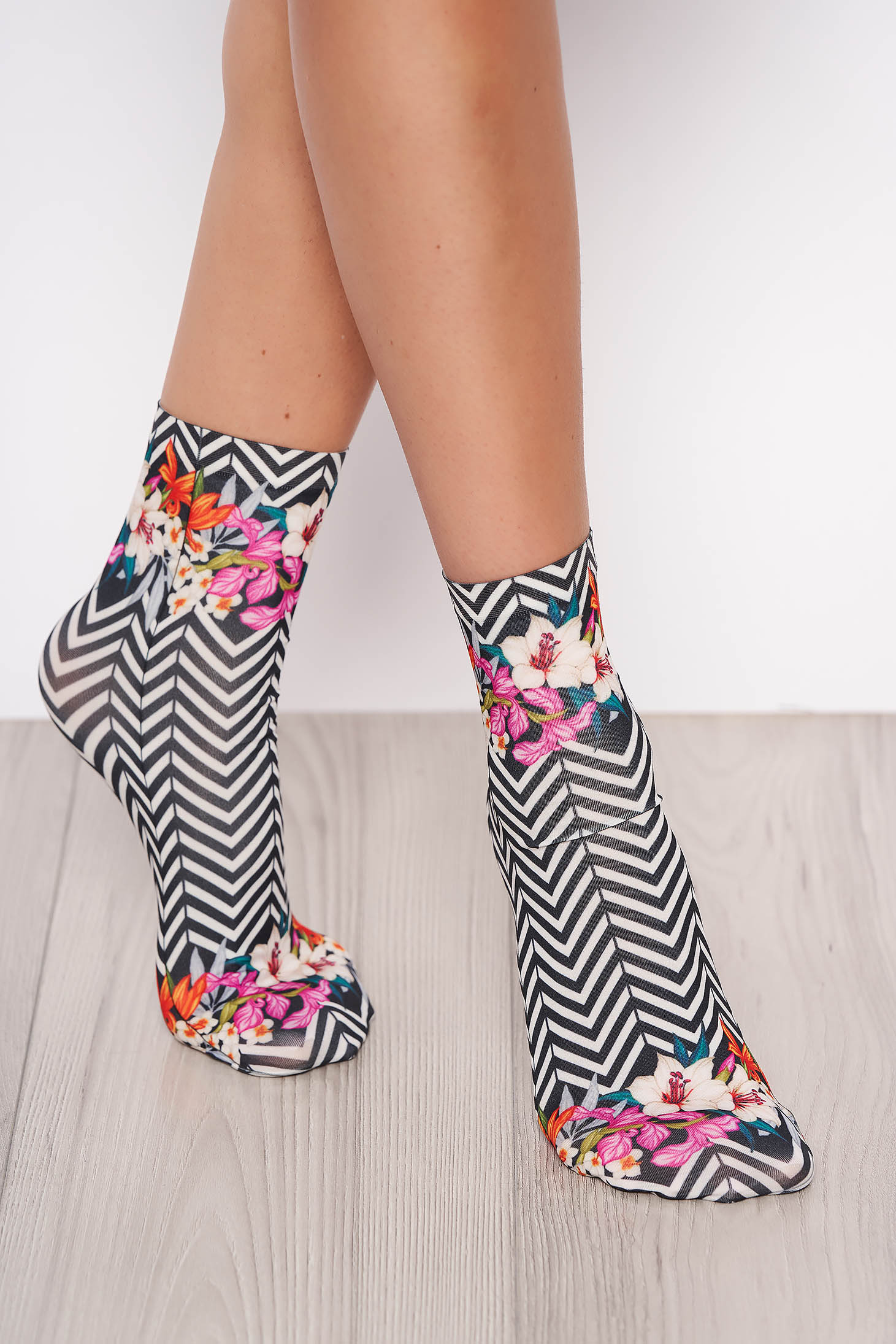 Black socks soft fabric with print details