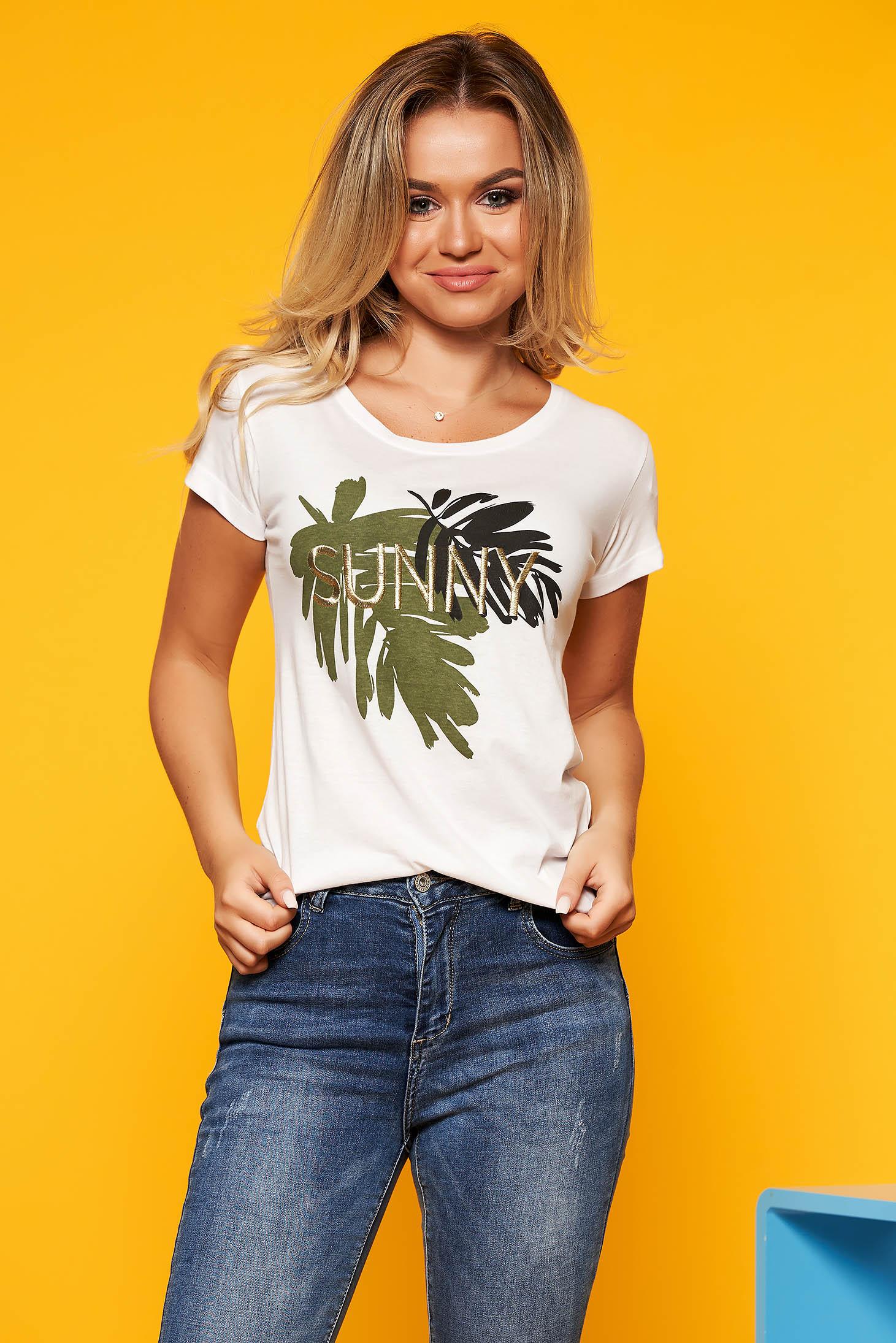 Top Secret white casual short cut flared t-shirt cotton