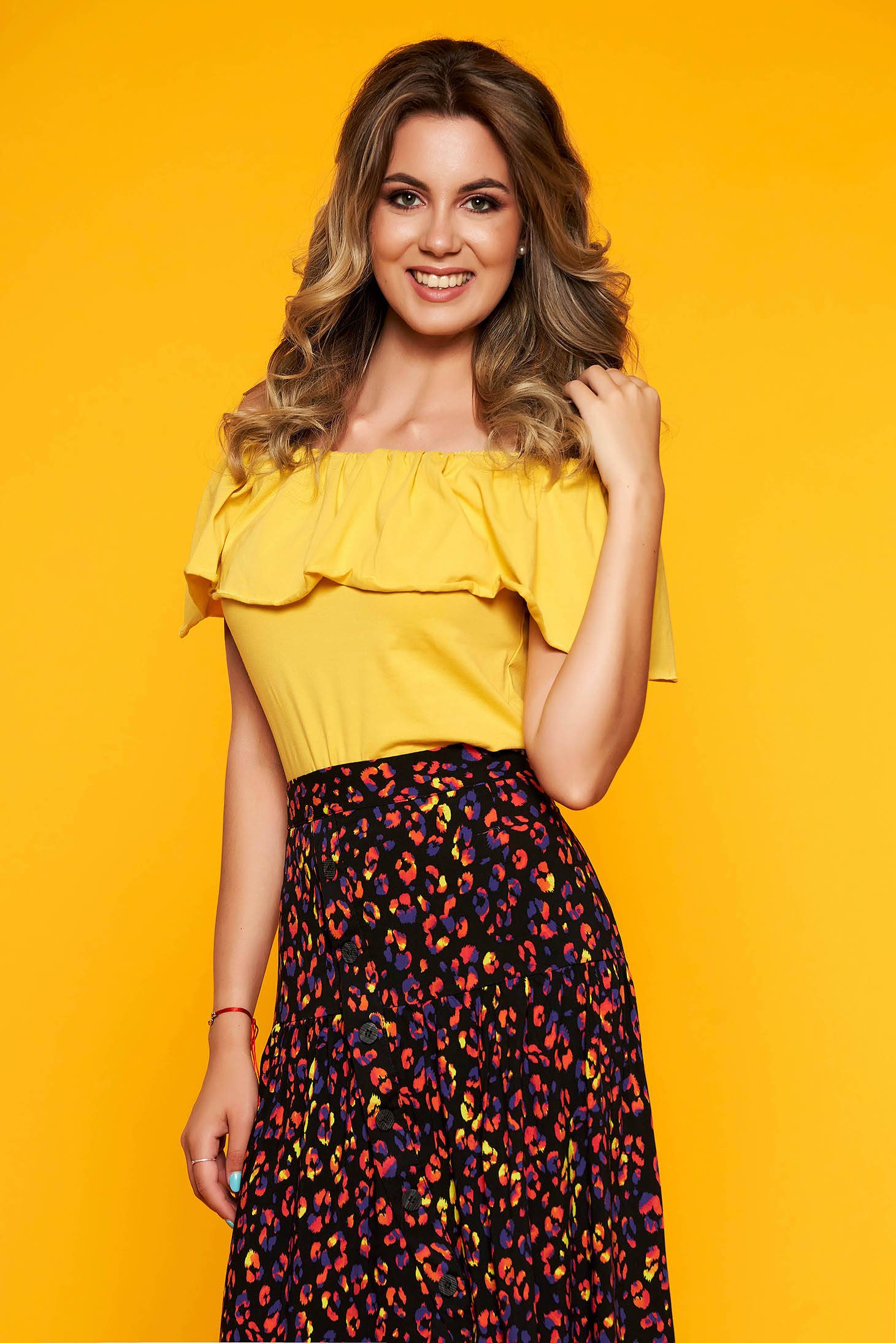 Top Secret yellow casual flared off shoulder women`s blouse frilly trim around cleavage line cotton