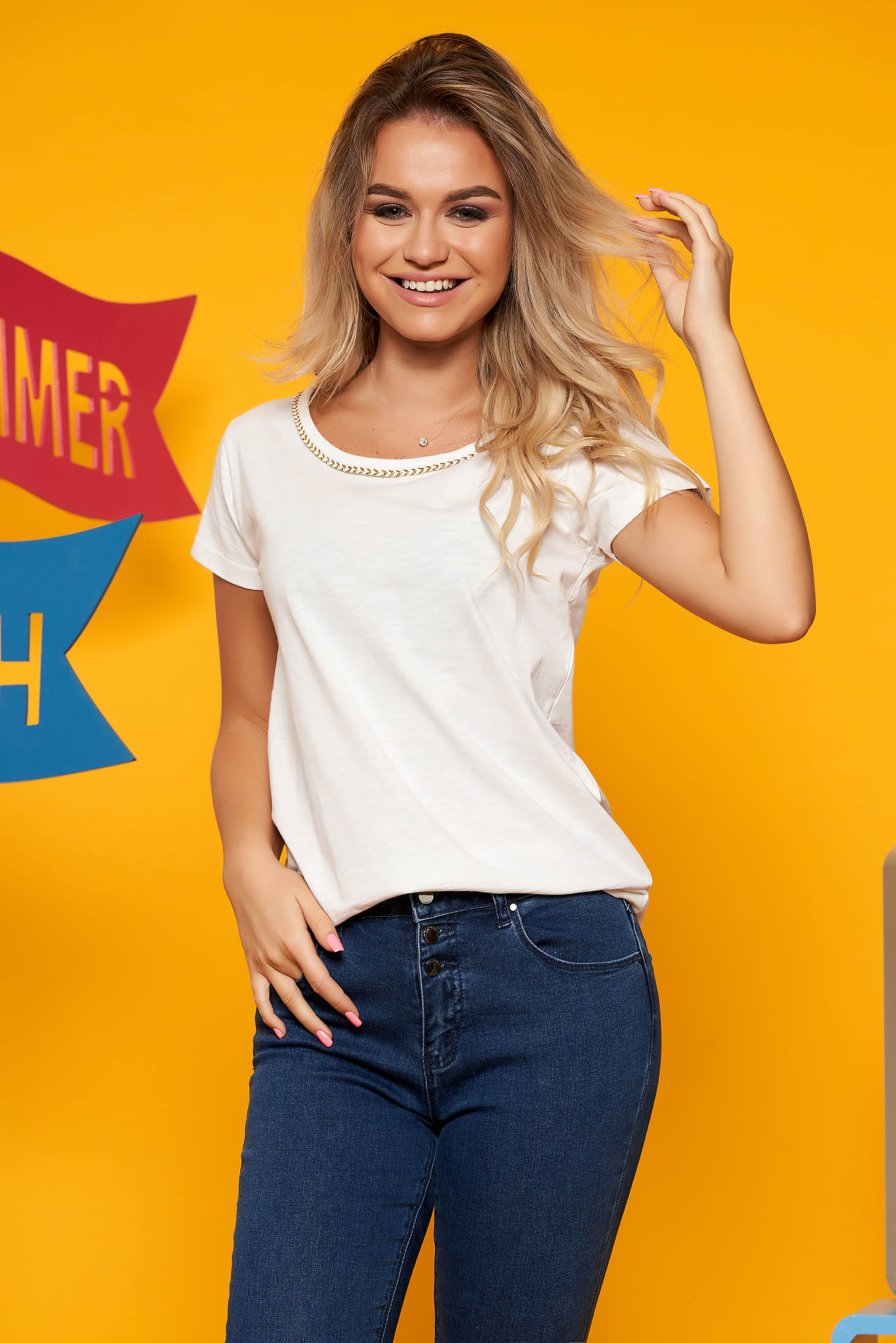 White casual flared t-shirt slightly elastic cotton