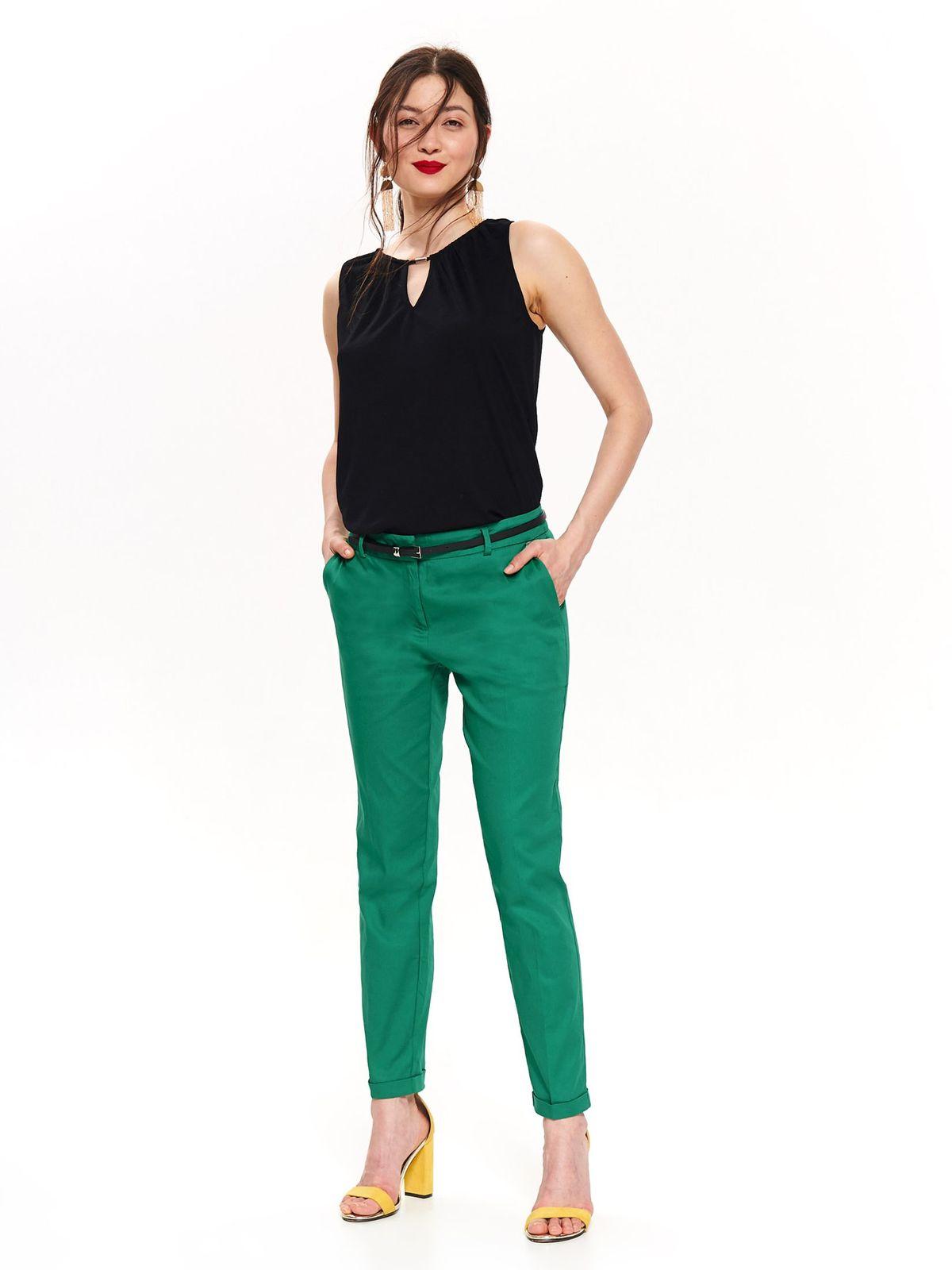 Pantaloni Top Secret verzi office conici cu talie medie cu buzunare cu accesoriu tip curea
