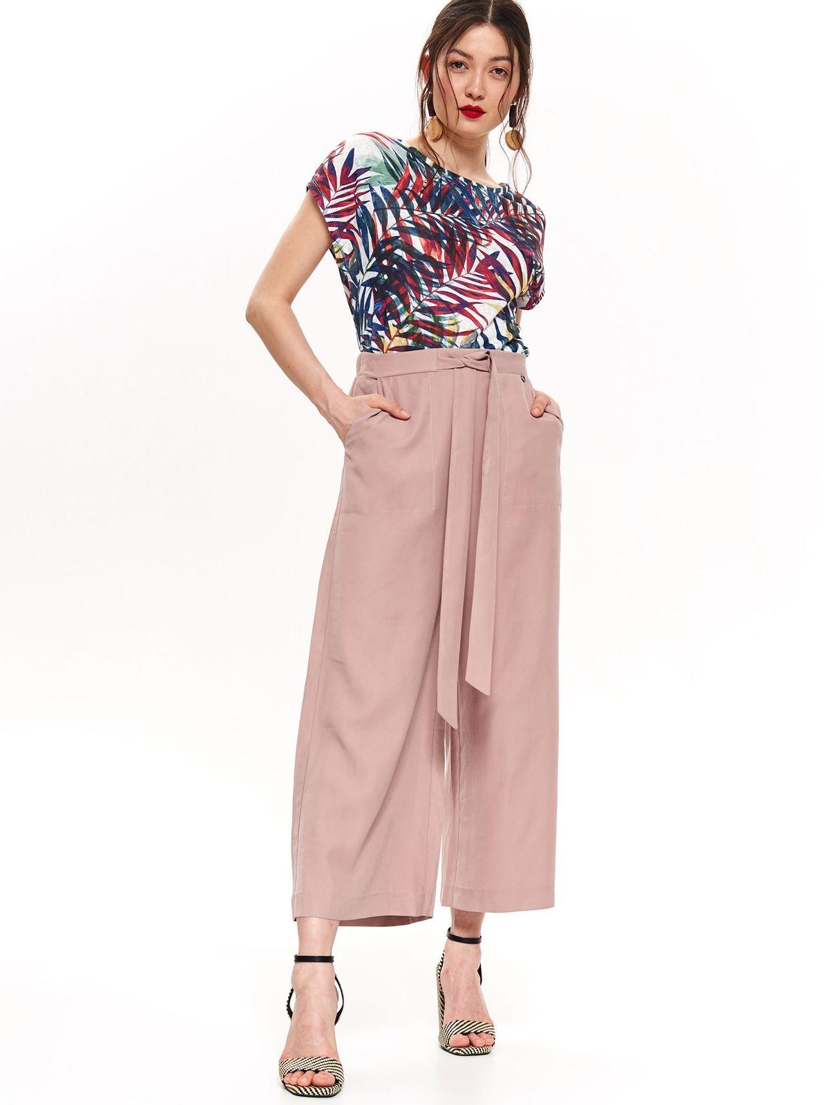 Pantaloni Top Secret rosa casual cu un croi evazat cu talie inalta accesorizati cu cordon din material vaporos