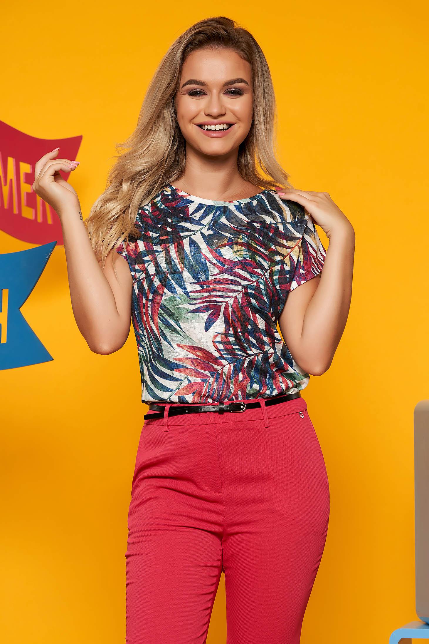 Top Secret green casual with easy cut women`s blouse short sleeve linen