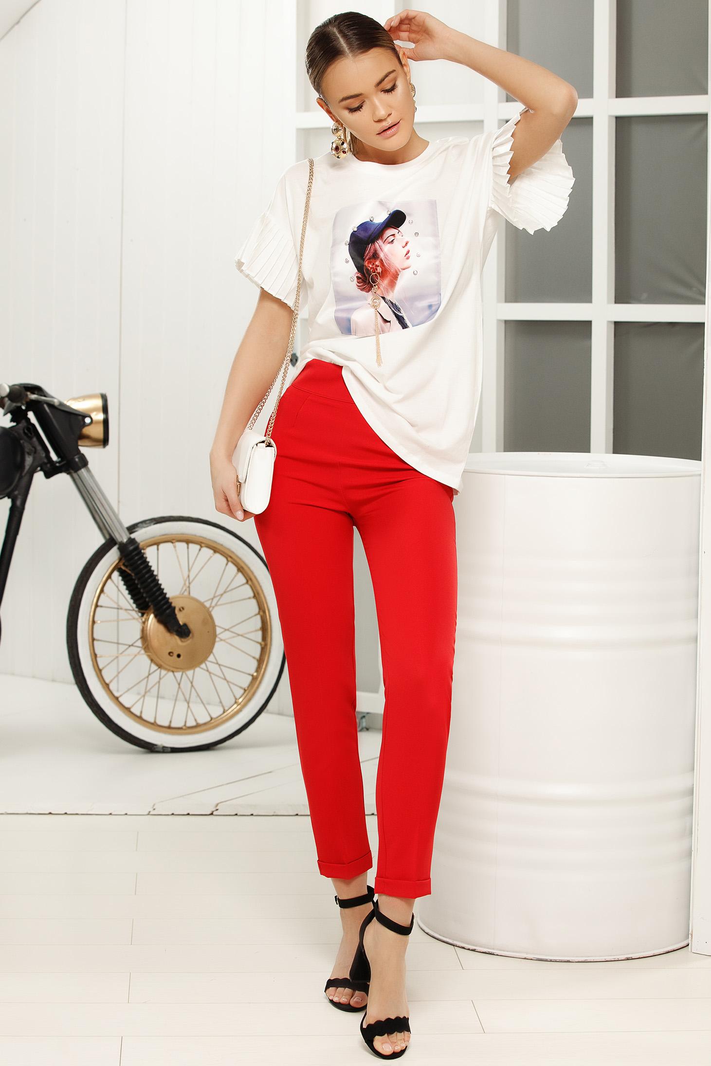Pantaloni rosii eleganti cu talie medie cu un croi mulat