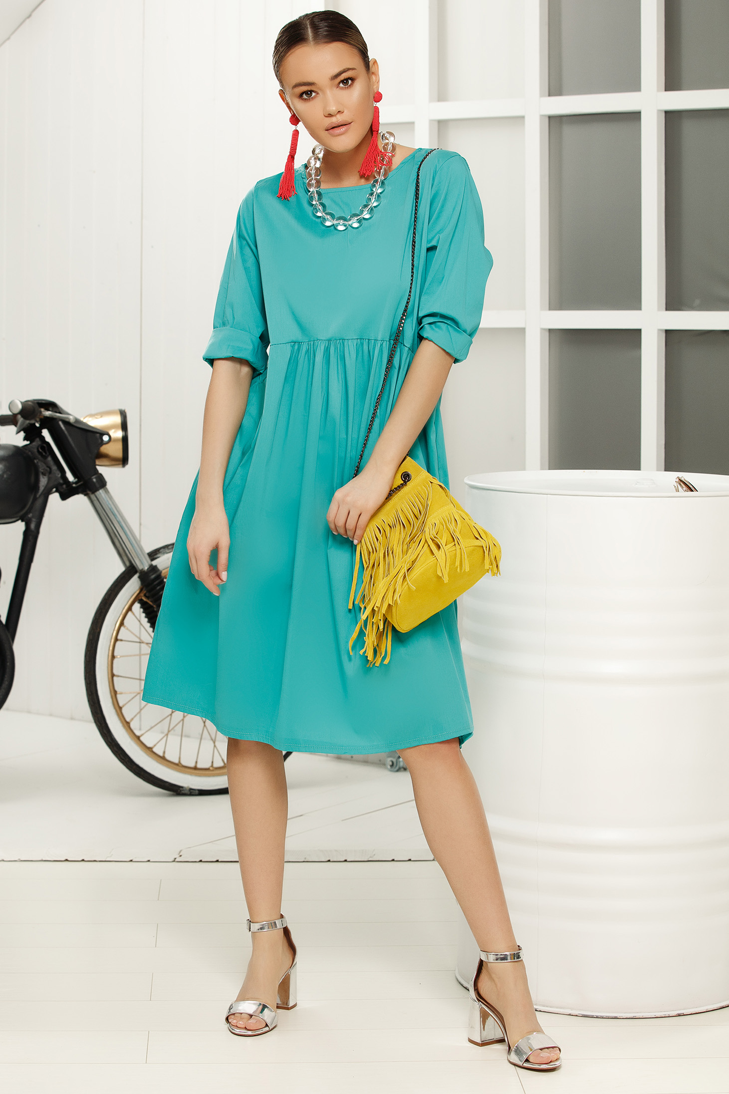 Turquoise casual daily flared dress with 3/4 sleeves