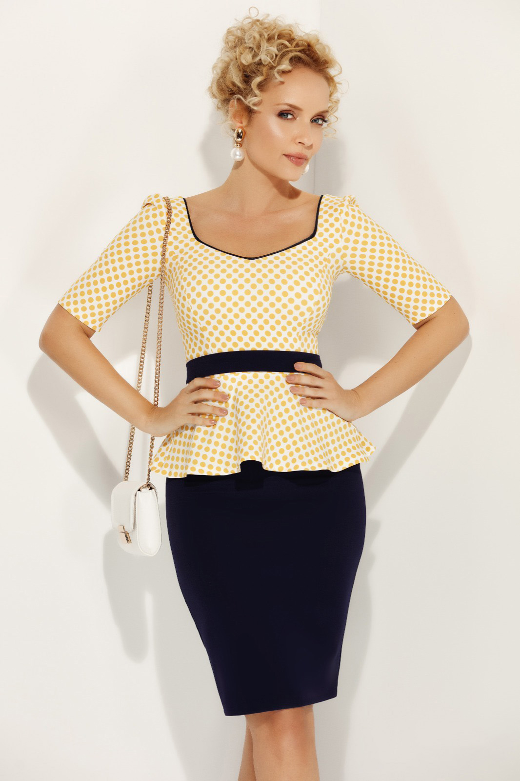 Fofy mustard elegant women`s blouse with tented cut frilled accessorized with tied waistband
