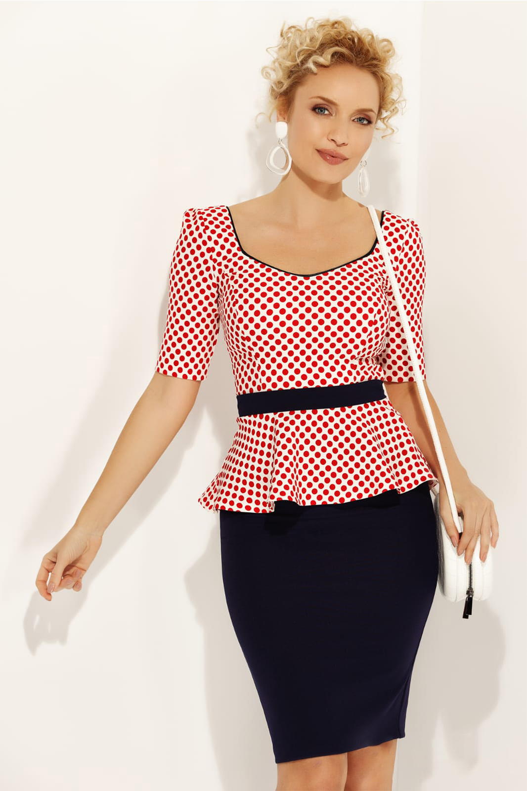 Fofy red elegant women`s blouse with tented cut frilled accessorized with tied waistband