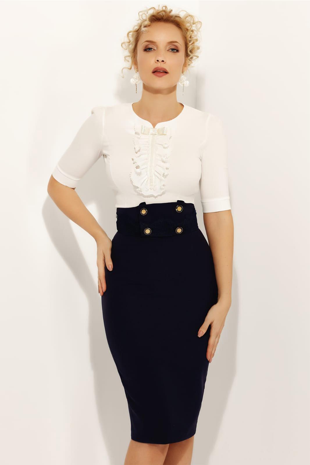 6f996ed3d7 Fehér Fofy elegáns női ing 3/4-es ujjakkal szűk szabás enyhén elasztikus  pamut gyöngy díszítéssel