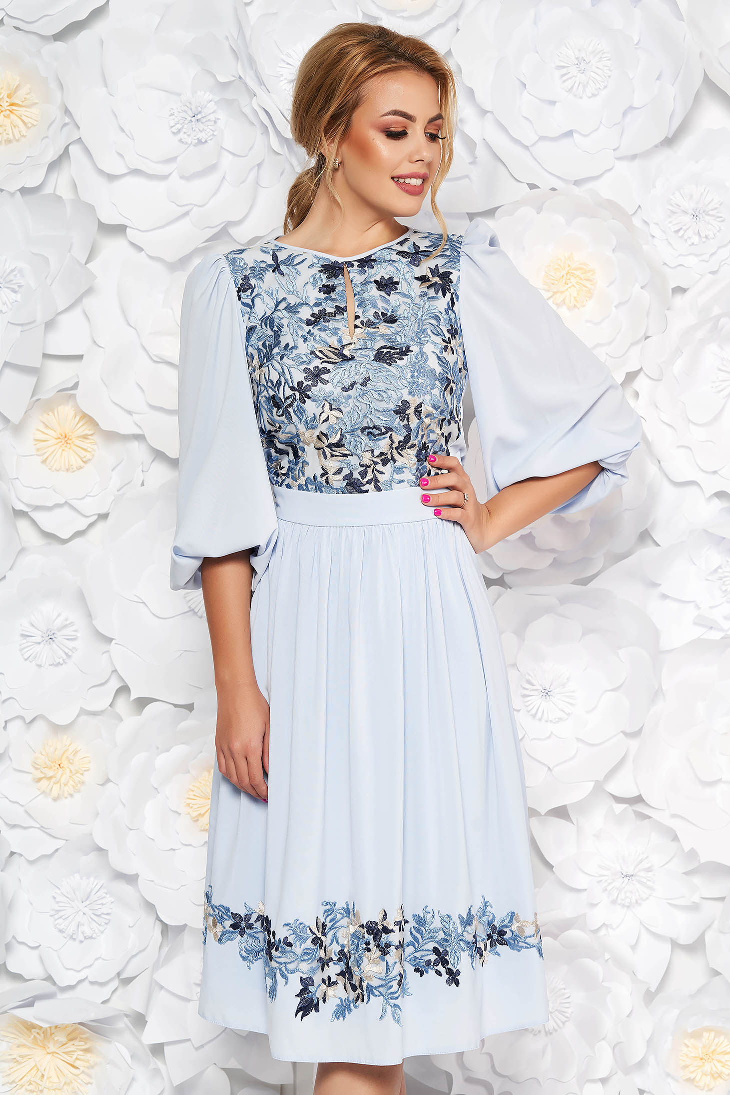 LaDonna lightblue occasional cloche dress from veil fabric with inside lining with lace details